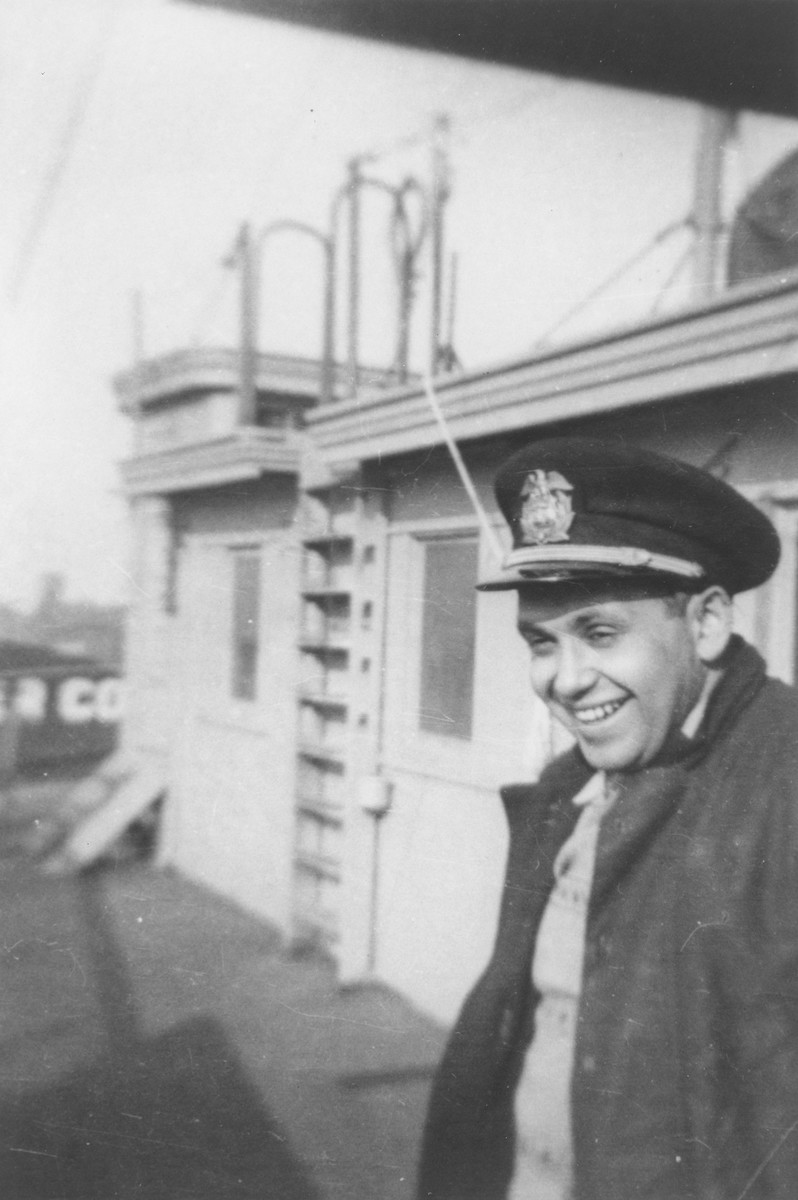 Sol Lester, engineer of President Warfield/Exodus 1947, poses on board the ship prior to its departure for Europe.