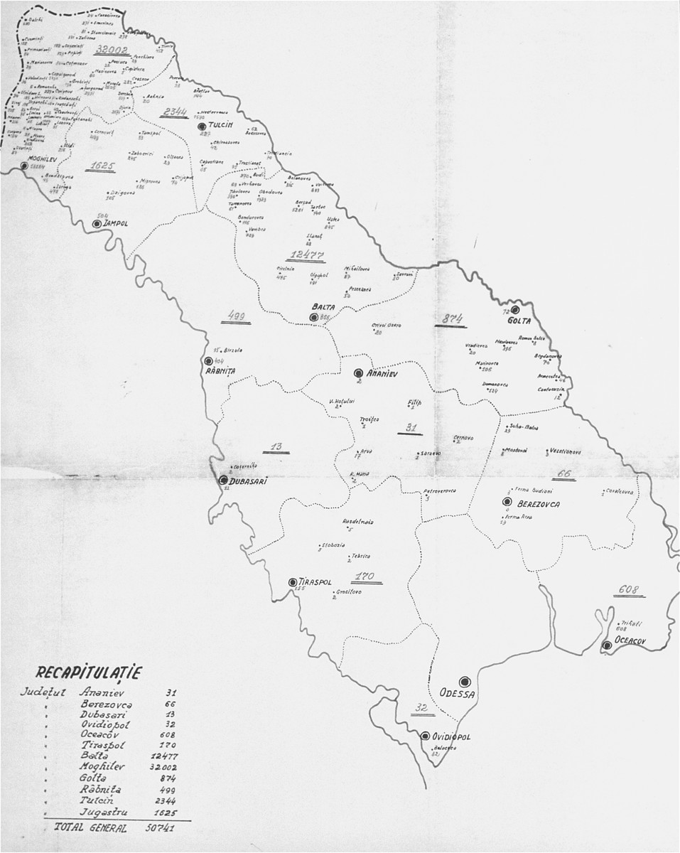 A map of Transnistria giving the number of Jews per district and locality that were deported from Bessarabia and Bukovina.