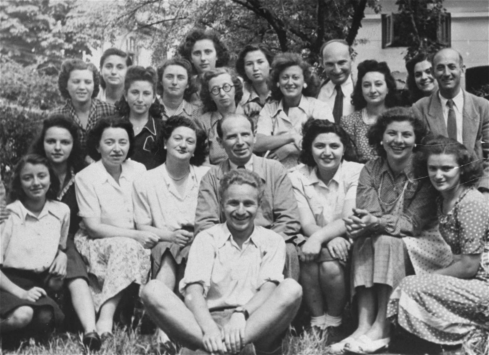 Group portrait of Jewish students attending a book-binding course in Bucharest, Romania.    Among those pictured is Jeanine Gutman (back row, third from the right).  This vocational school was one of many organized by the Jewish community after Jewish youth were excluded from the Romanian school system.