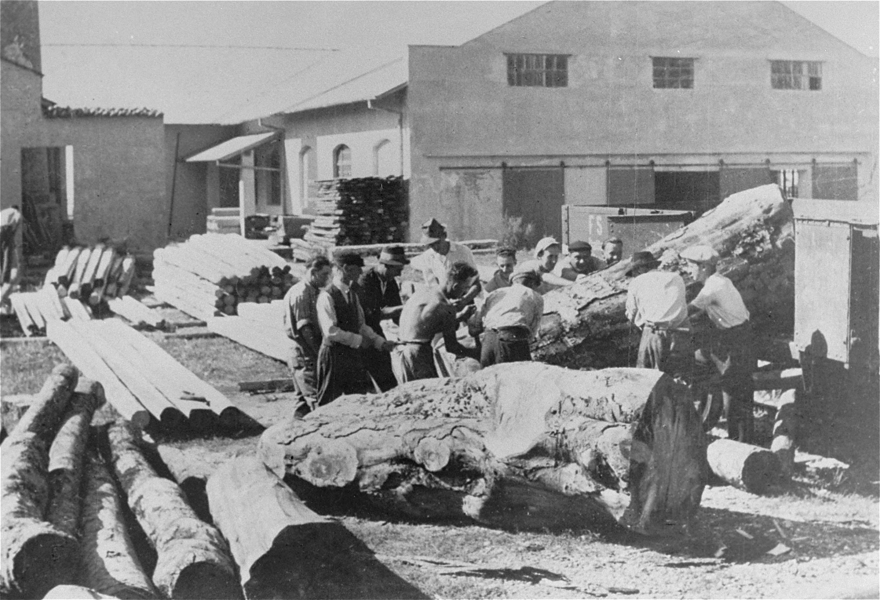 Italian Jews at forced labor at a lumber mill in Gorizia, Italy.