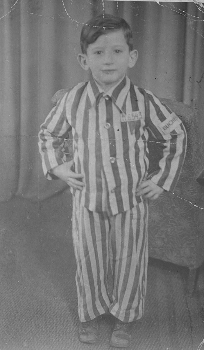 Portrait of Joseph Schleifstein wearing his concentration camp uniform a year or two after his liberation.