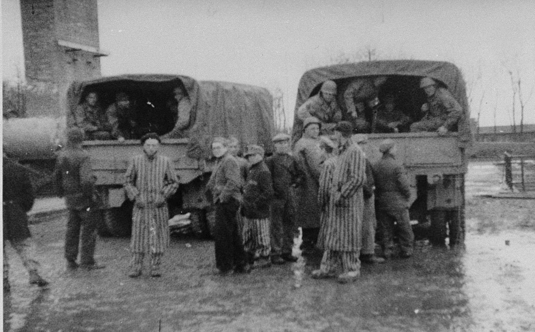 Survivors in Buchenwald gather in front of American Army trucks.