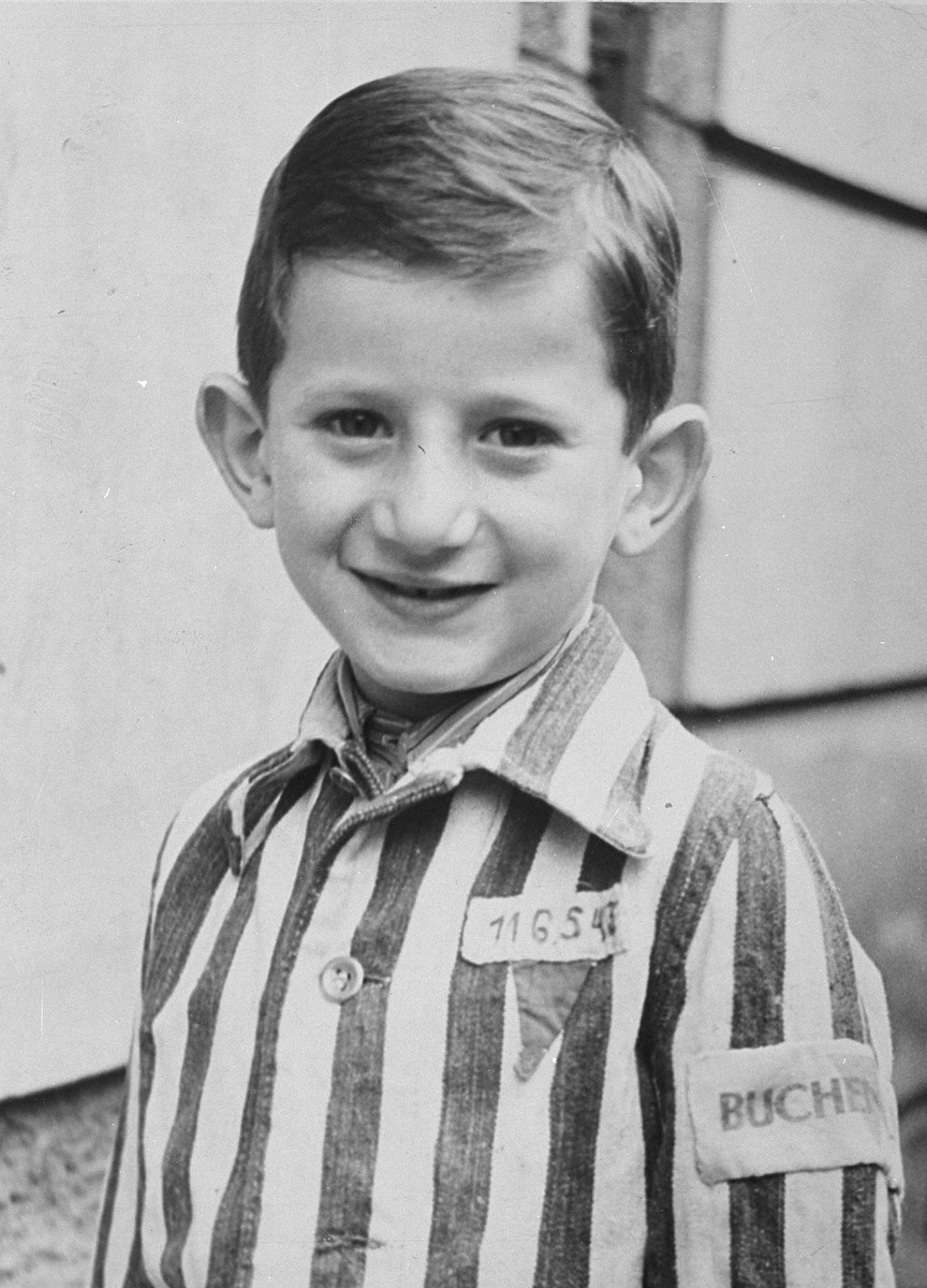 Portrait of Joseph Schleifstein wearing his old Buchenwald uniform.