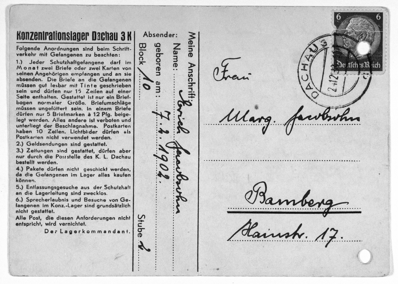 Postcard sent from the Dachau concentration camp by Jewish prisoner, Erich Jacobsohn, to his wife Margarete in Bamberg.  The postcard is dated December 17, 1938.