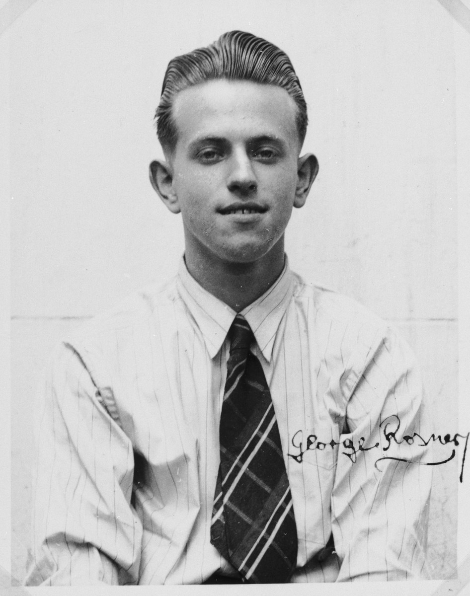 """Autographed portrait of George Rosner, a member of the International Committee for European Immigrants in Shanghai.  One photograph from the International Committee album, """"Introducing the I.C. Staff"""" presented to I.C. secretary Paul Komor on August 7, 1941 in Shanghai."""