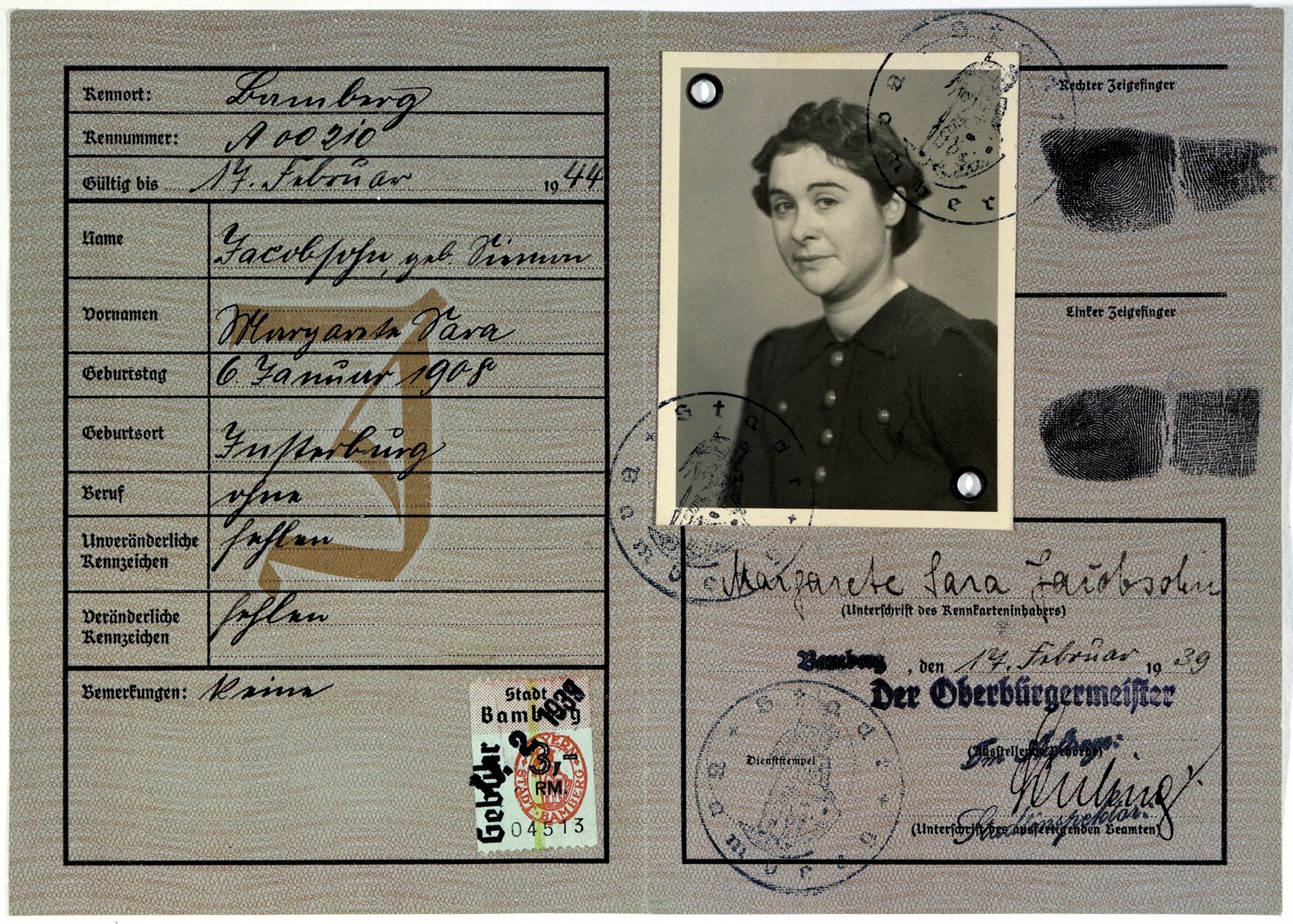 "Identity card (Deutsches Reich Kennkarte) issued to Margarete Sara Jacobsohn and stamped with a red letter J for ""Jude"" (Jew)."