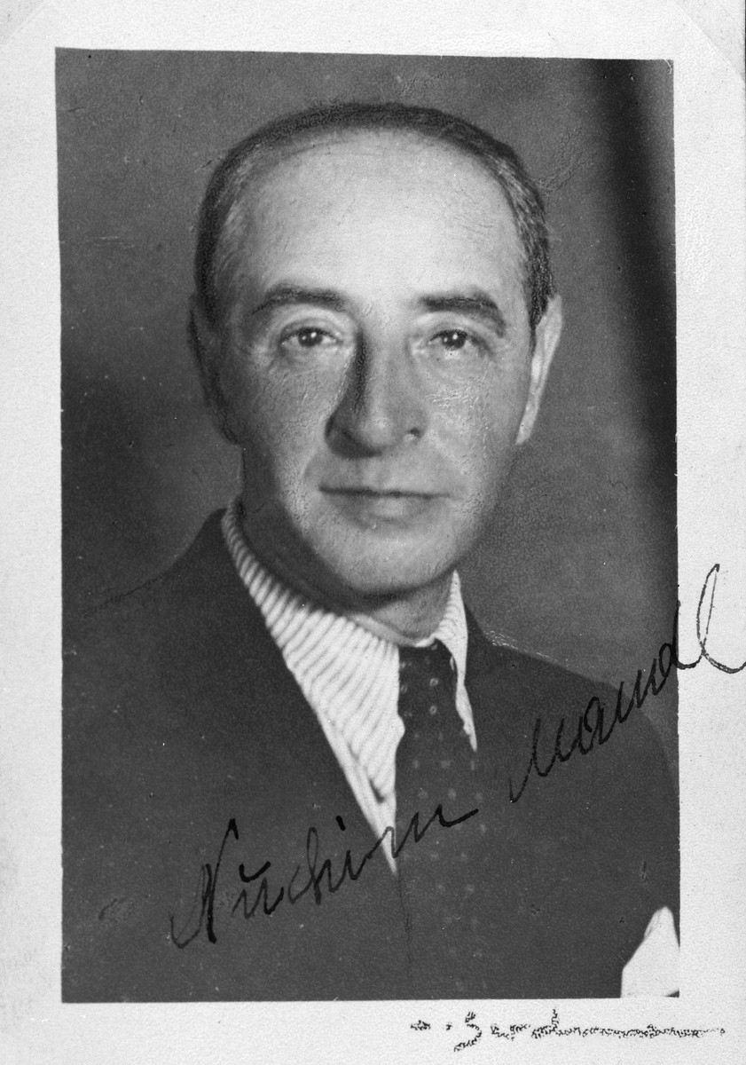 "Autographed portrait of Nuchim Mandl, a member of the International Committee for European Immigrants in Shanghai.  One photograph from the International Committee album, ""Introducing the I.C. Staff"" presented to I.C. secretary Paul Komor on August 7, 1941 in Shanghai."
