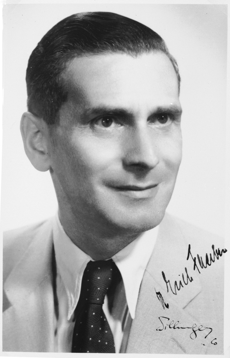 """Autographed portrait of Dr. Erich Faerber, a member of the International Committee for European Immigrants in Shanghai.  One photograph from the International Committee album, """"Introducing the I.C. Staff"""" presented to I.C. secretary Paul Komor on August 7, 1941 in Shanghai."""