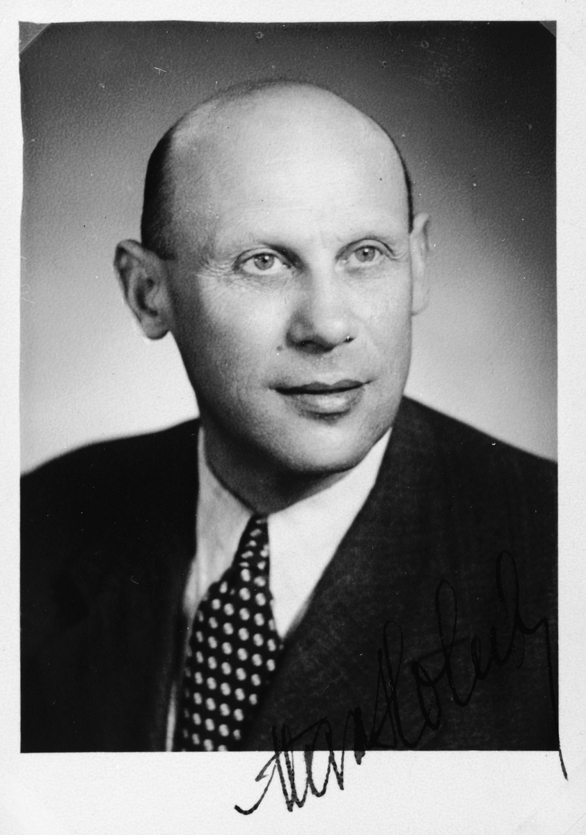"Autographed portrait of Max Holub, a member of the International Committee for European Immigrants in Shanghai.  One photograph from the International Committee album, ""Introducing the I.C. Staff"" presented to I.C. secretary Paul Komor on August 7, 1941 in Shanghai."
