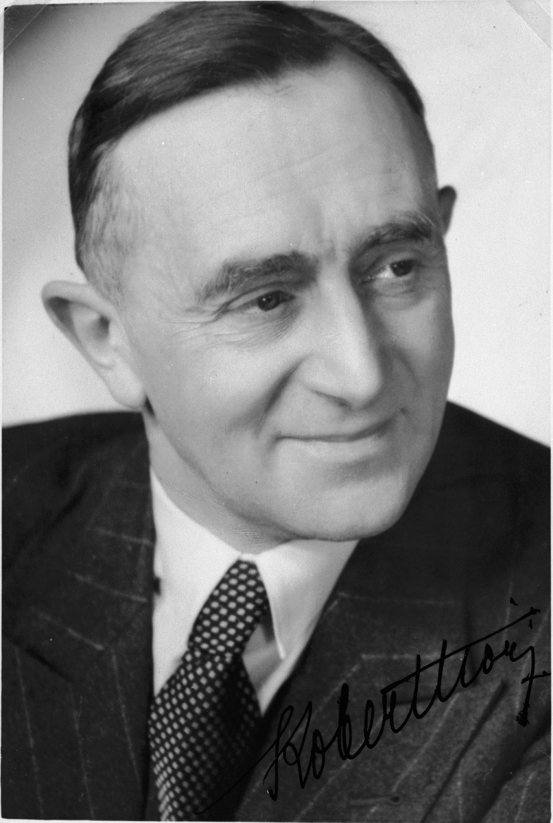 "Autographed portrait of ""Count Bobby"" Hock, a member of the International Committee for European Immigrants in Shanghai.  One photograph from the International Committee album, ""Introducing the I.C. Staff"" presented to I.C. secretary Paul Komor on August 7, 1941 in Shanghai."