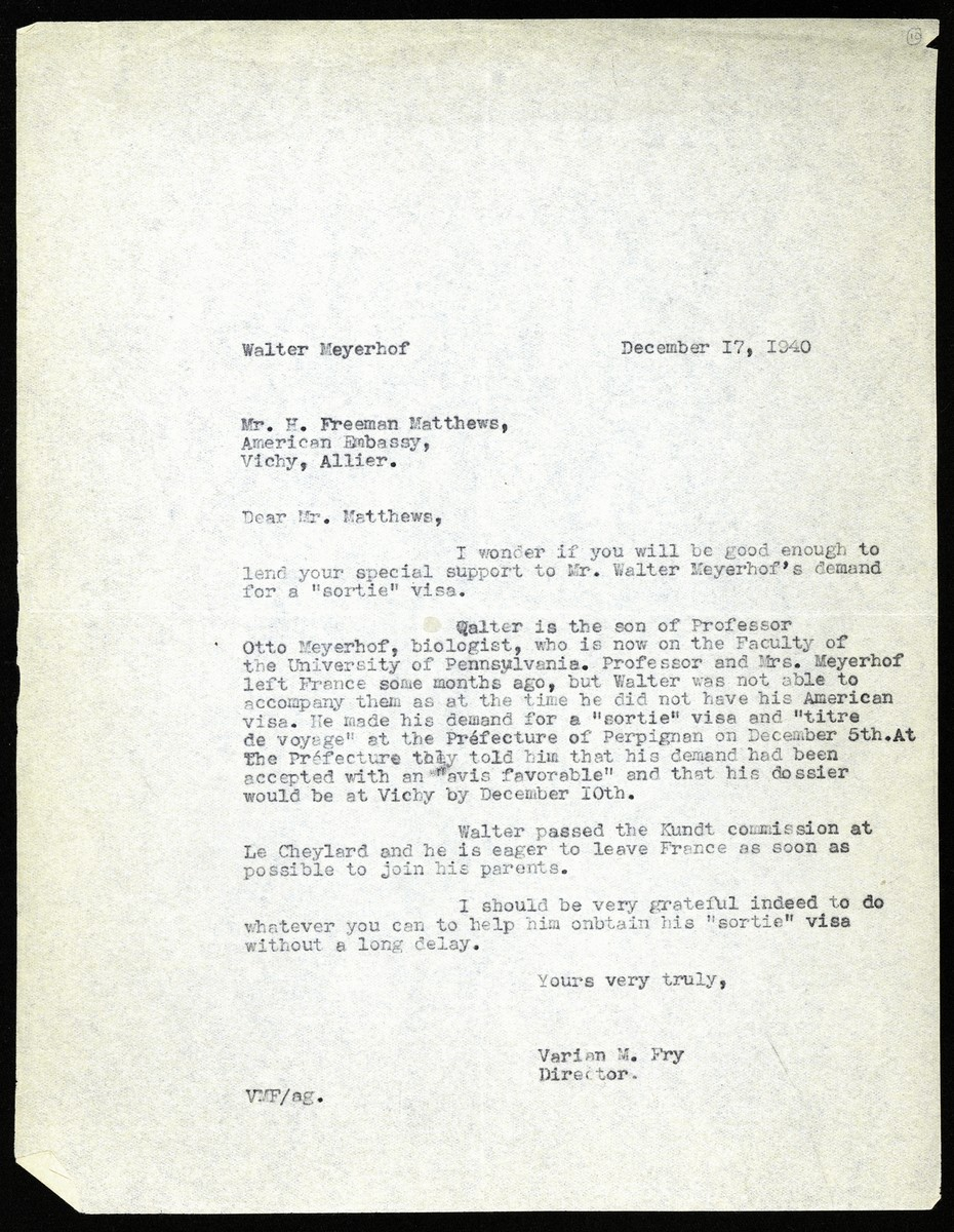 Letter written by Varian Fry to the American consul at the U.S. embassy in Vichy seeking his help in obtaining an exit visa for Walter Meyerhof.