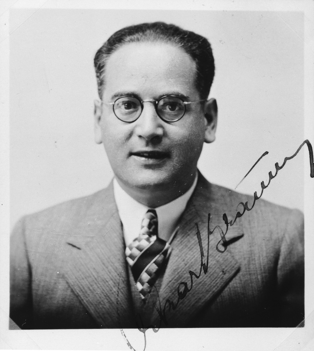 "Autographed portrait of Oskar Braun, a member of the International Committee for European Immigrants in Shanghai.  One photograph from the International Committee album, ""Introducing the I.C. Staff"" presented to I.C. secretary Paul Komor on August 7, 1941 in Shanghai."