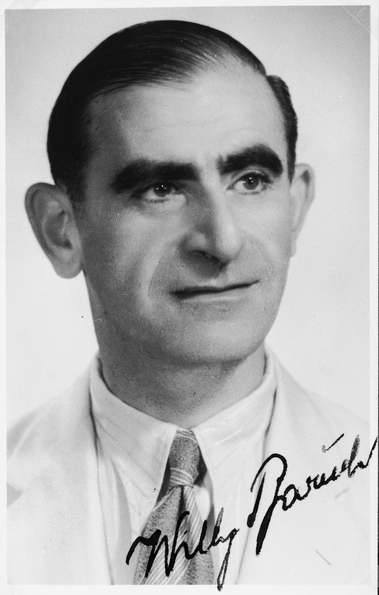 """Autographed portrait of Willy Baruch, a member of the International Committee for European Immigrants in Shanghai.  One photograph from the International Committee album, """"Introducing the I.C. Staff"""" presented to I.C. secretary Paul Komor on August 7, 1941 in Shanghai."""