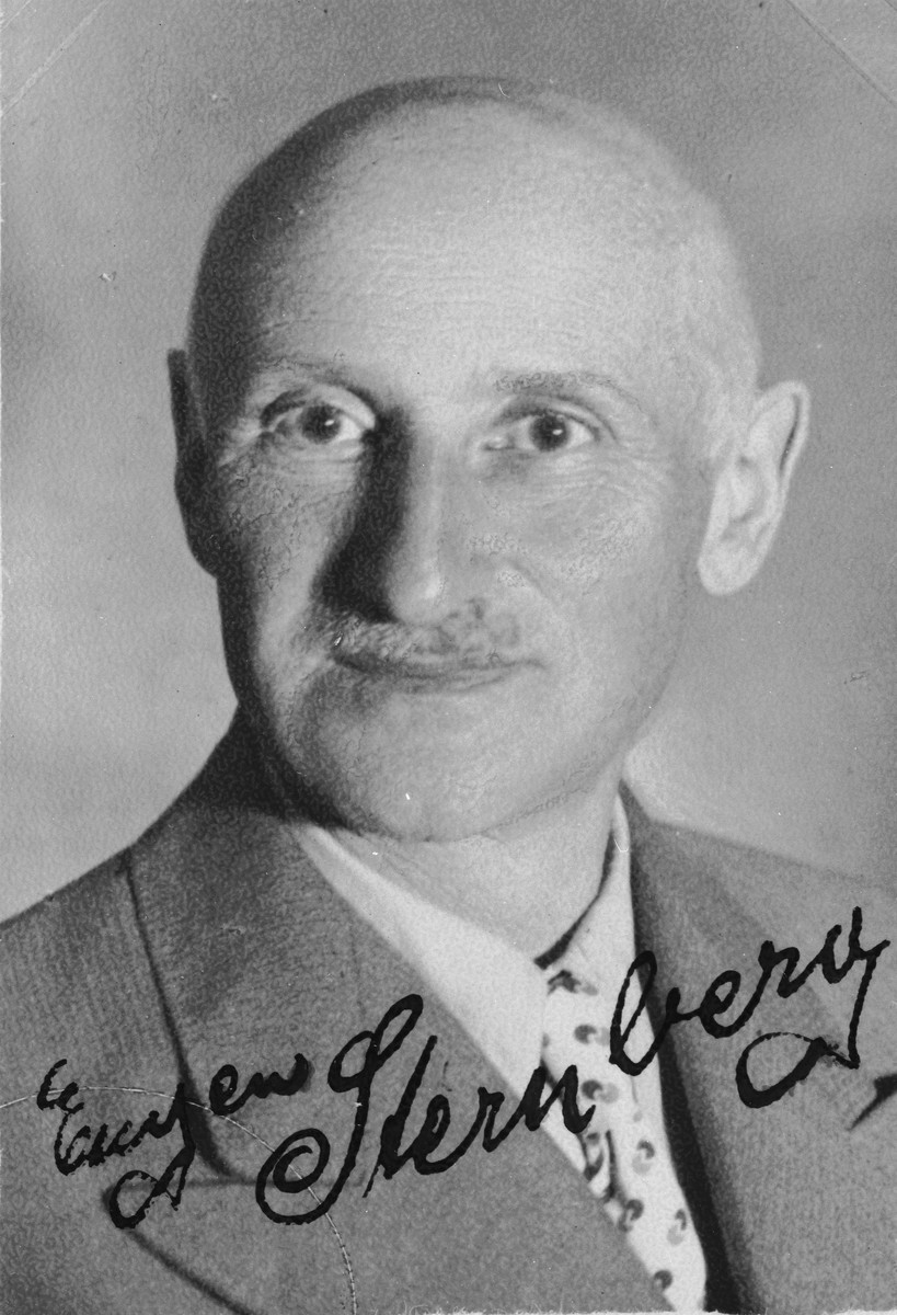 """Autographed portrait of Eugen Sternberg, a member of the International Committee for European Immigrants in Shanghai.  One photograph from the International Committee album, """"Introducing the I.C. Staff"""" presented to I.C. secretary Paul Komor on August 7, 1941 in Shanghai.  Eugen Sternberg was born 29.08.1884 in Polgsen/Pelczyn and lived in Shanghai, 300/7 Mac Gregor Rd.  He returned to Berlin on or around 09.09.1947."""