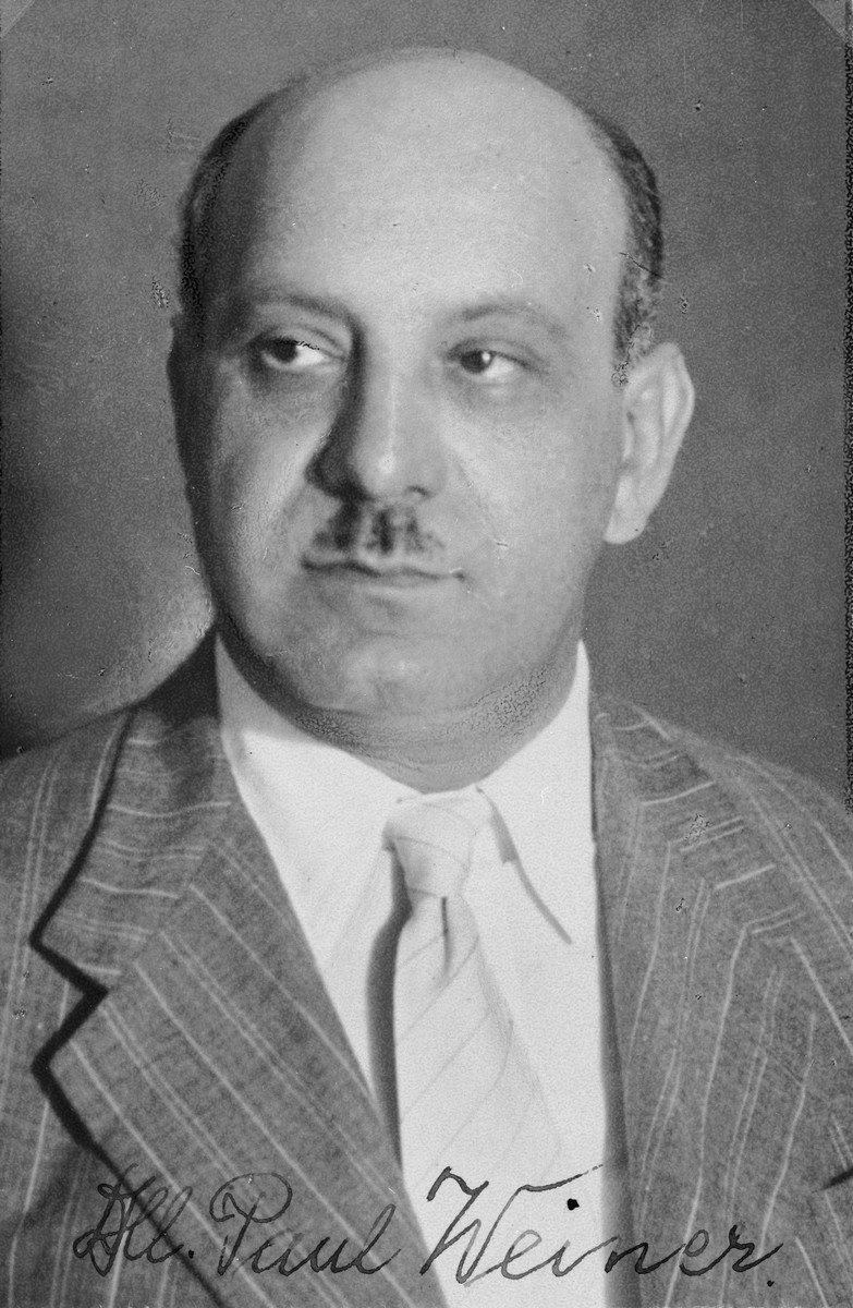 "Autographed portrait of Paul Weiner, a member of the International Committee for European Immigrants in Shanghai.  One photograph from the International Committee album, ""Introducing the I.C. Staff"" presented to I.C. secretary Paul Komor on August 7, 1941 in Shanghai."