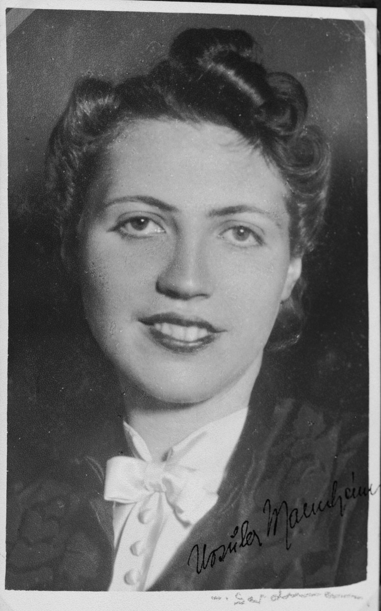 "Autographed portrait of Ursula Mannheim, a member of the International Committee for European Immigrants in Shanghai.  One photograph from the International Committee album, ""Introducing the I.C. Staff"" presented to I.C. secretary Paul Komor on August 7, 1941 in Shanghai."