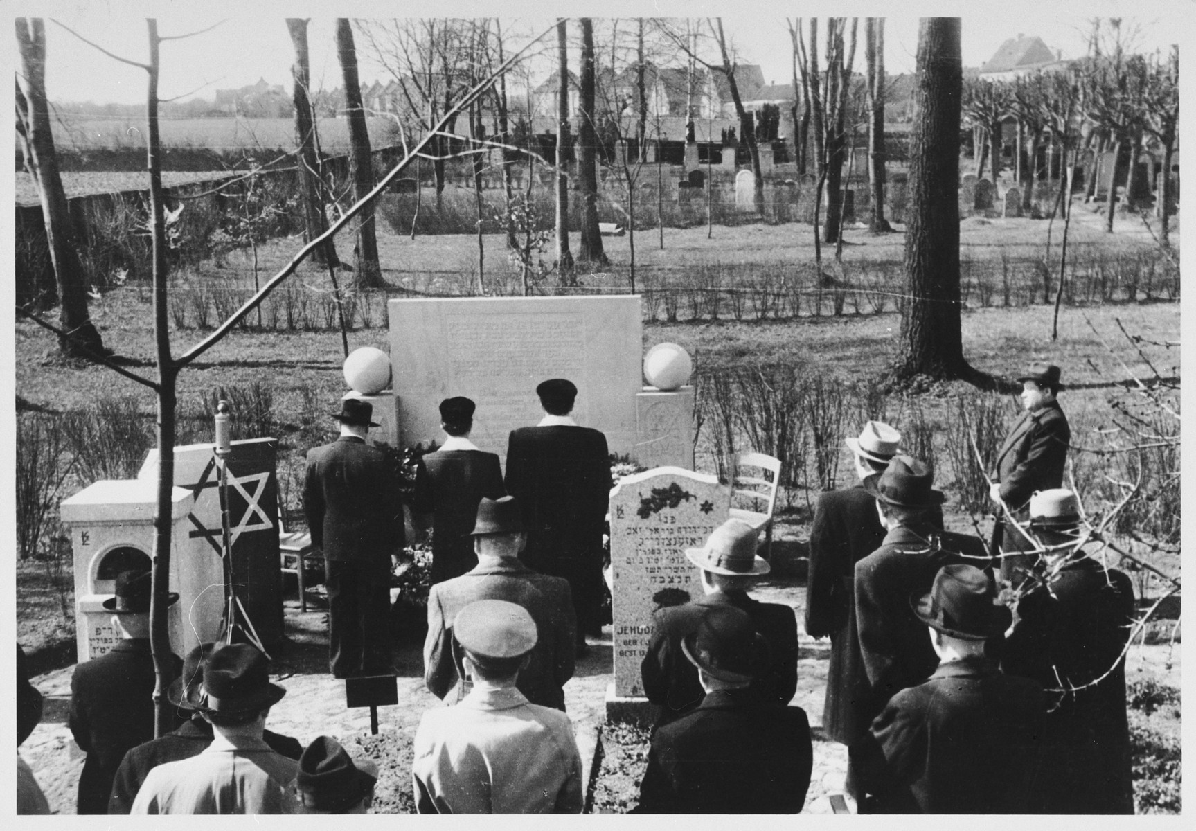Jewish DPs attend the rededication ceremony of the Jewish cemetery in Luebeck.