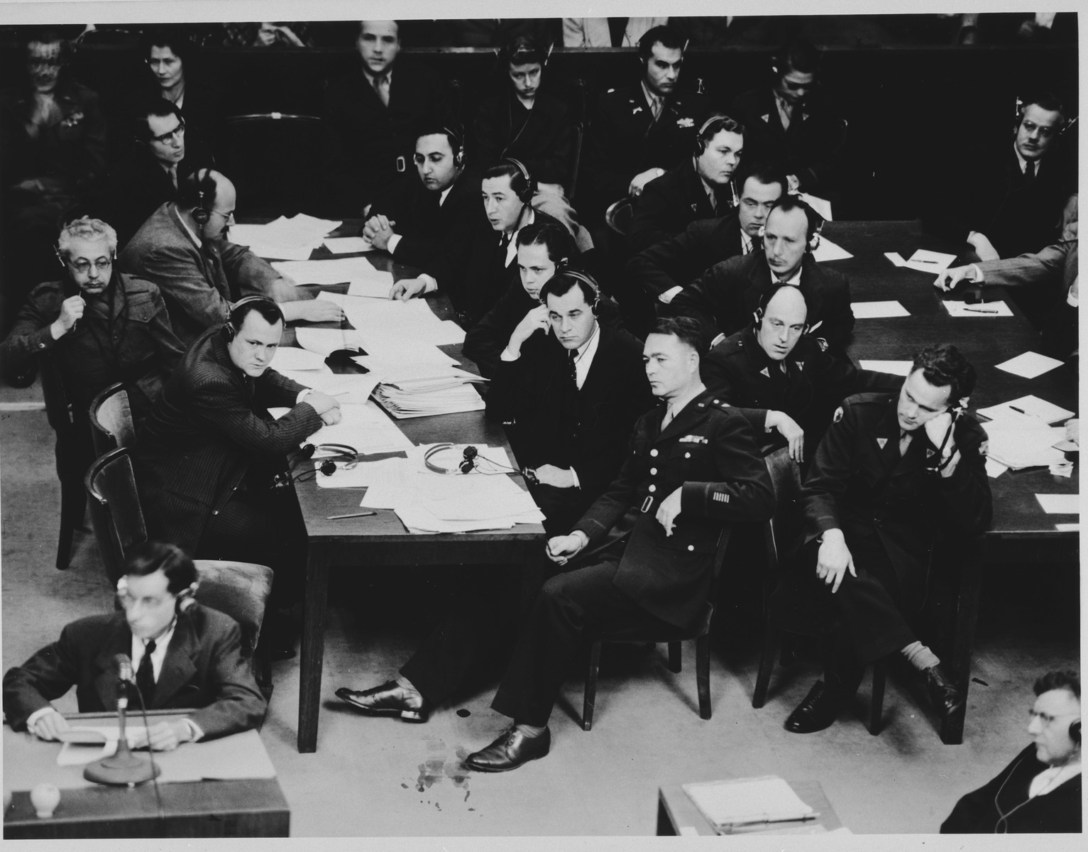 The prosecution team at the Doctors Trial.  Pictured in the center of the foreground is Chief of Counsel Brigadier General Telford Taylor.