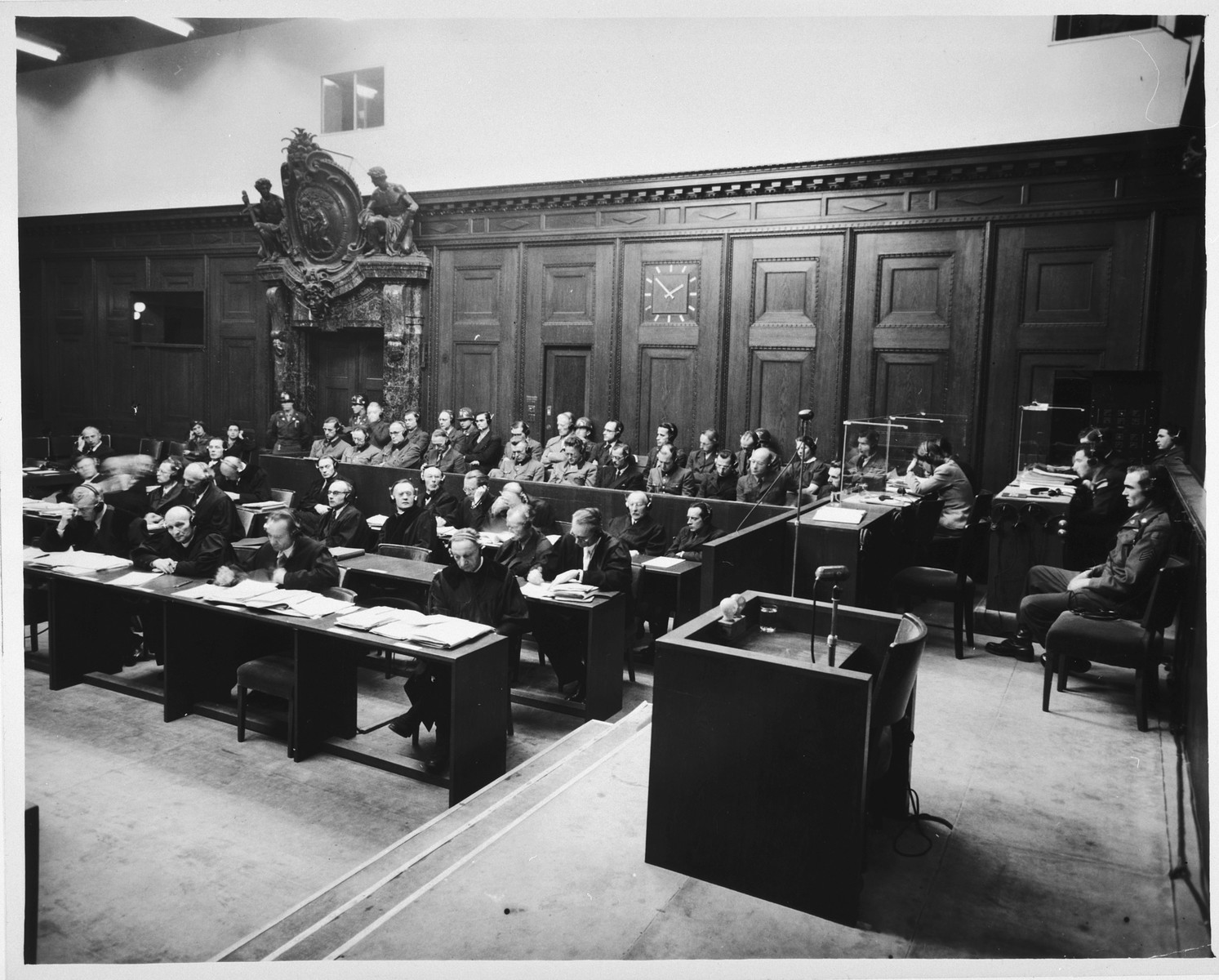 View of the defense counsel and defendants dock during a session of the Doctors Trial.