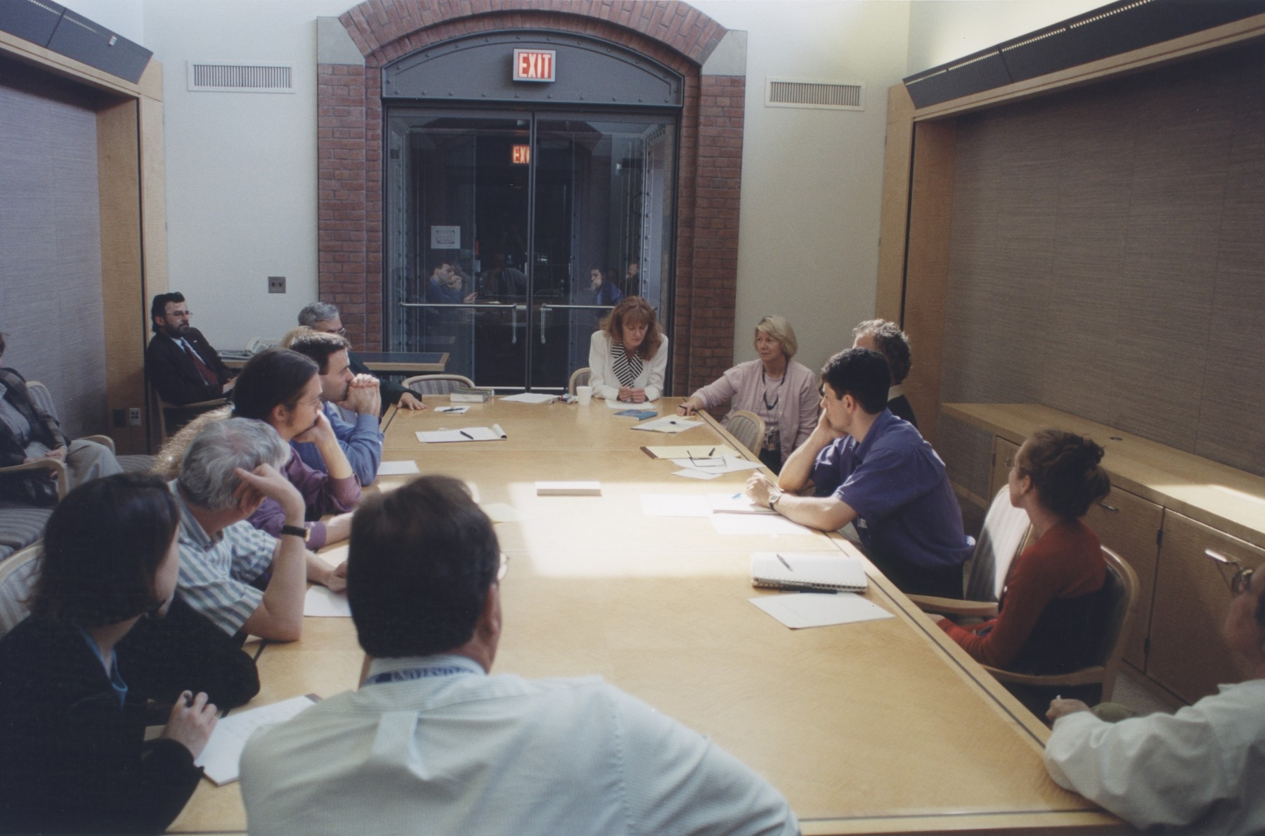 Visiting fellow Judith Molnar, a scholar of the Holocaust in Hungary at the University of Szeged, gives a presentation about her research at a Center for Advanced Holocaust Study Fellows Meeting at the U.S. Holocaust Memorial Museum.