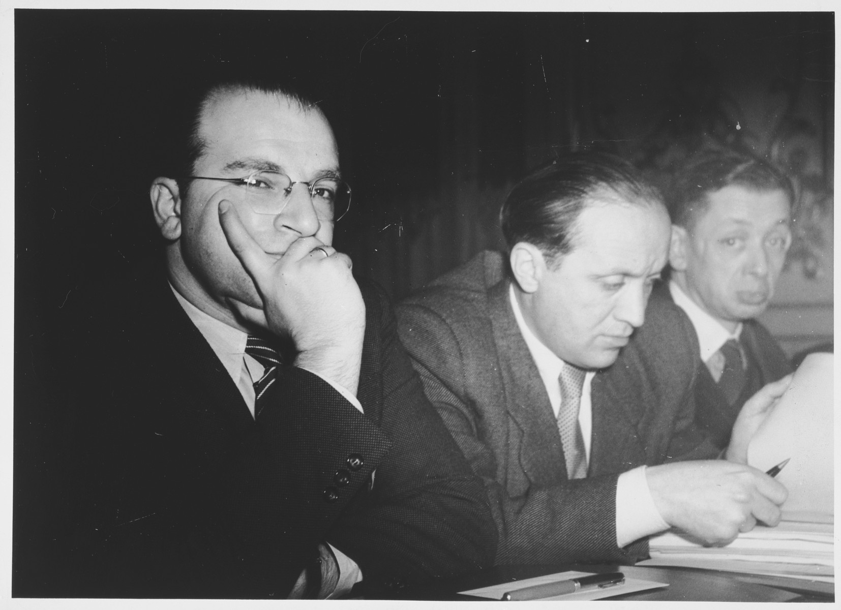 Members of the German delegation attend a conference sponsored by the Joint Distribution Committee on the status of the Jewish populations of Europe and North Africa.  Pictured from left to right are: Norbert Wollheim, Josef Rosensaft and Hans Fabian.