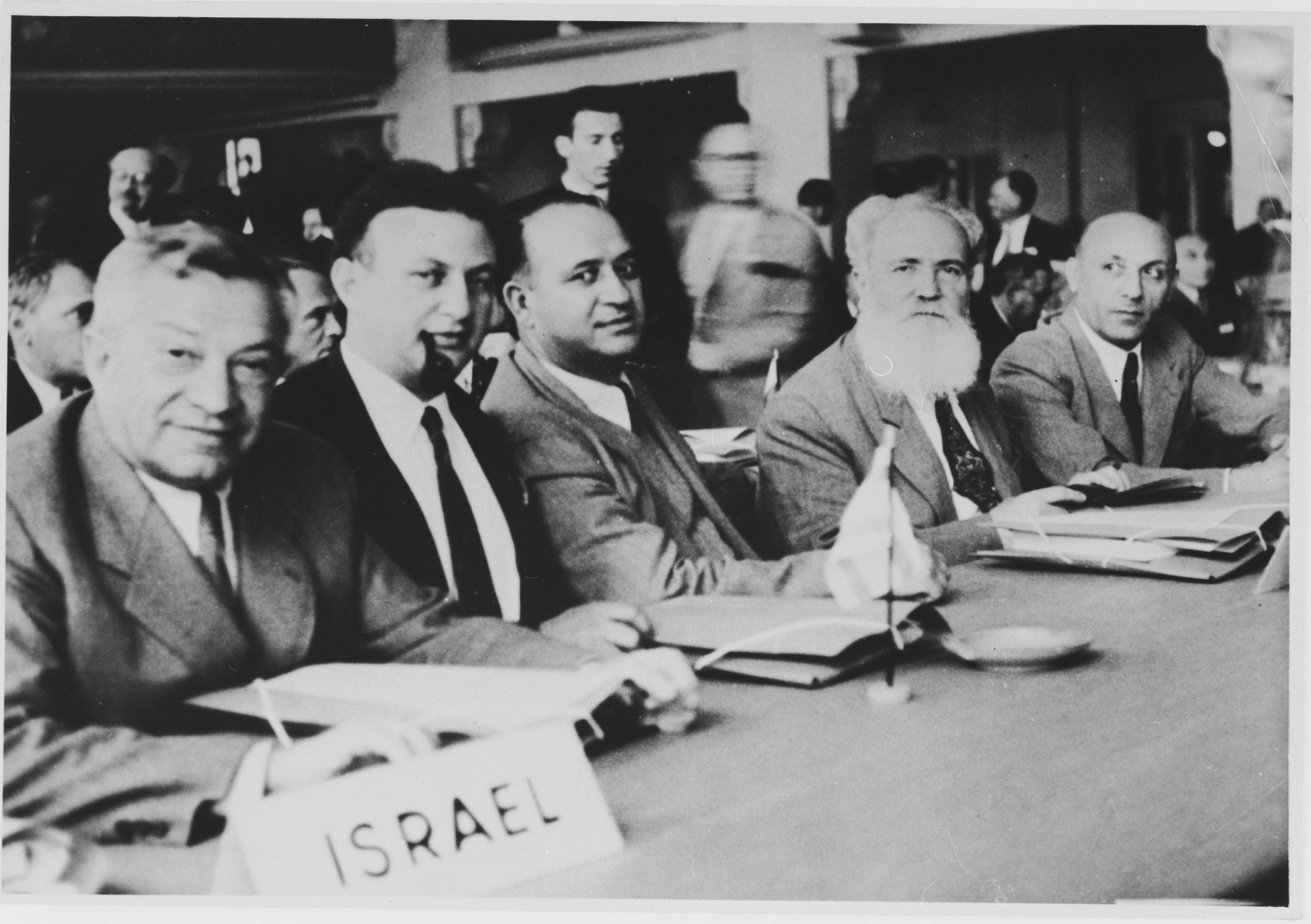 Members of the Israeli delegation to the World Jewish Congress meeting in Montreux, Switzerland.  Among those pictured is Jacob Zerubavel (second from the right).