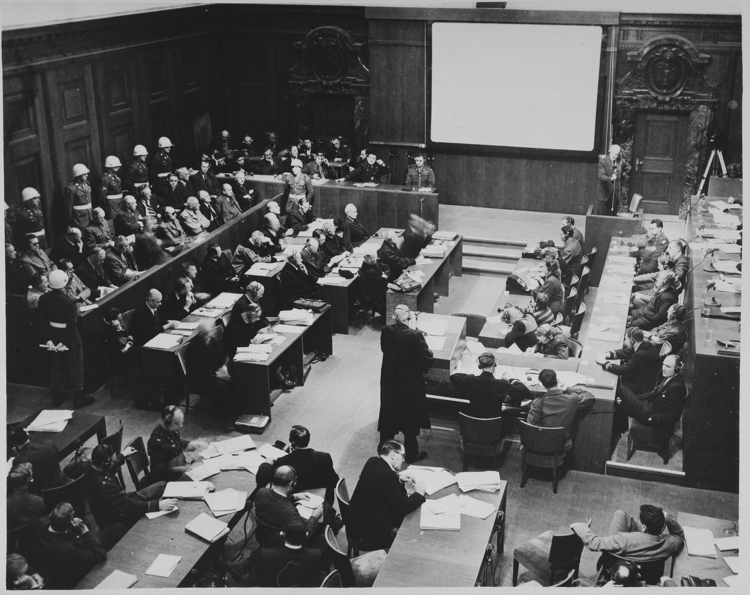 View of the courtroom during the International Military Tribunal proceedings in Nuremberg.