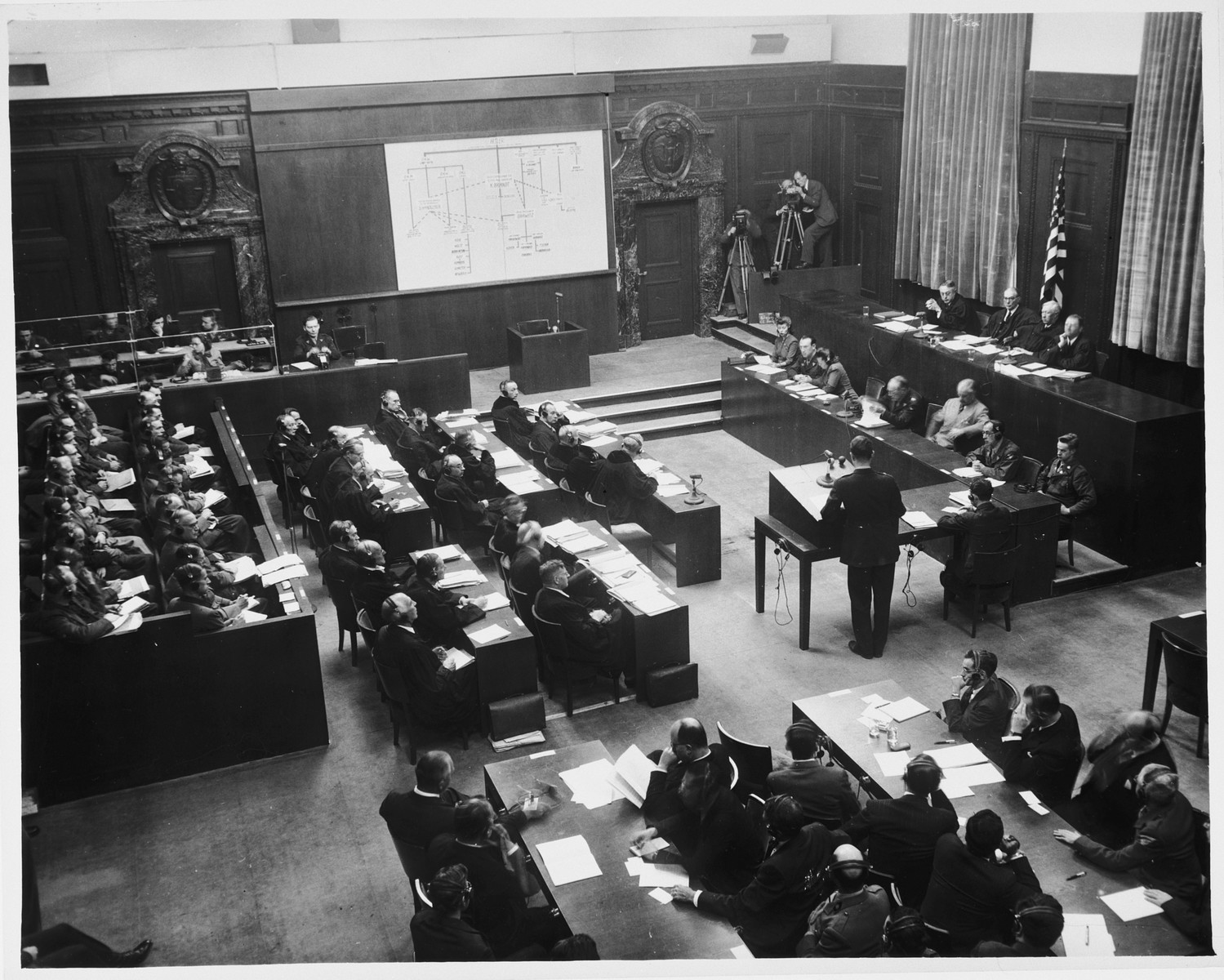 View of the courtroom during a session of the Doctors Trial.
