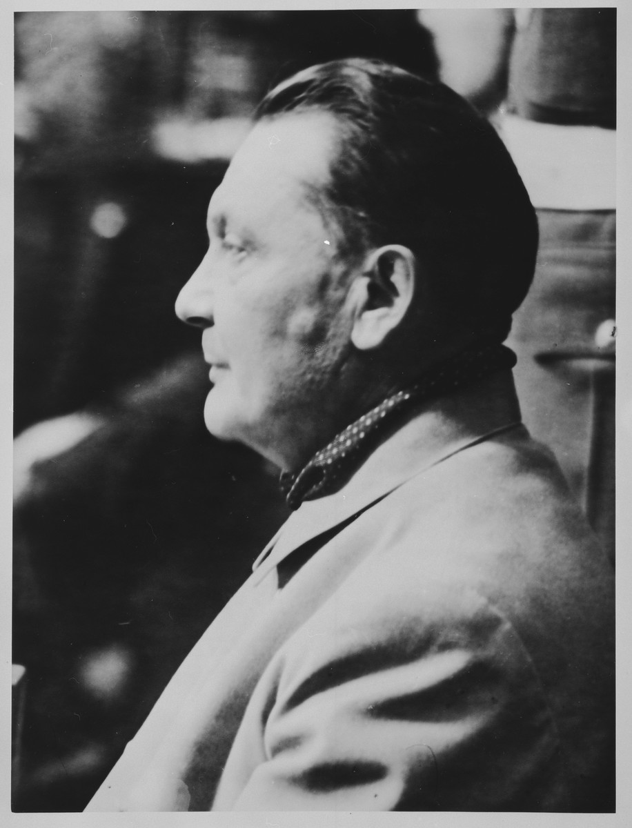 Profile of defendant Hermann Goering in the prisoners dock at the International Military Tribunal trial of war criminals at Nuremberg.
