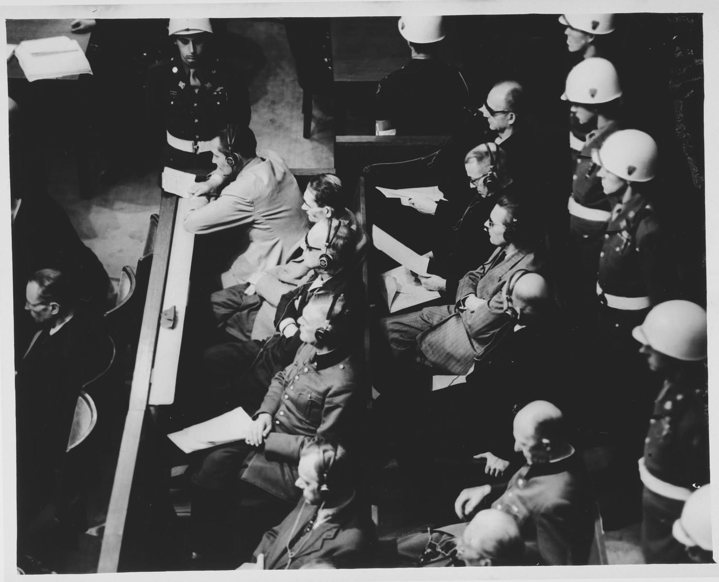 View from above of the defendants dock at the International Military Tribunal trial of war criminals at Nuremberg.