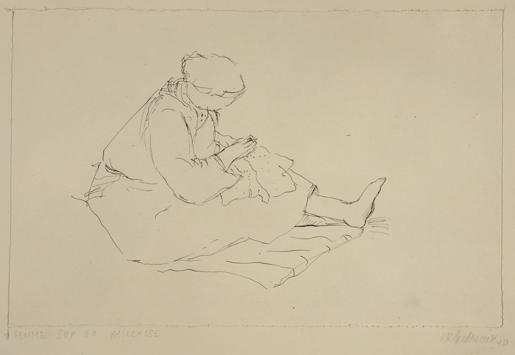 """""""Woman on her Straw Sack, Mending"""" by Lili Andrieux."""