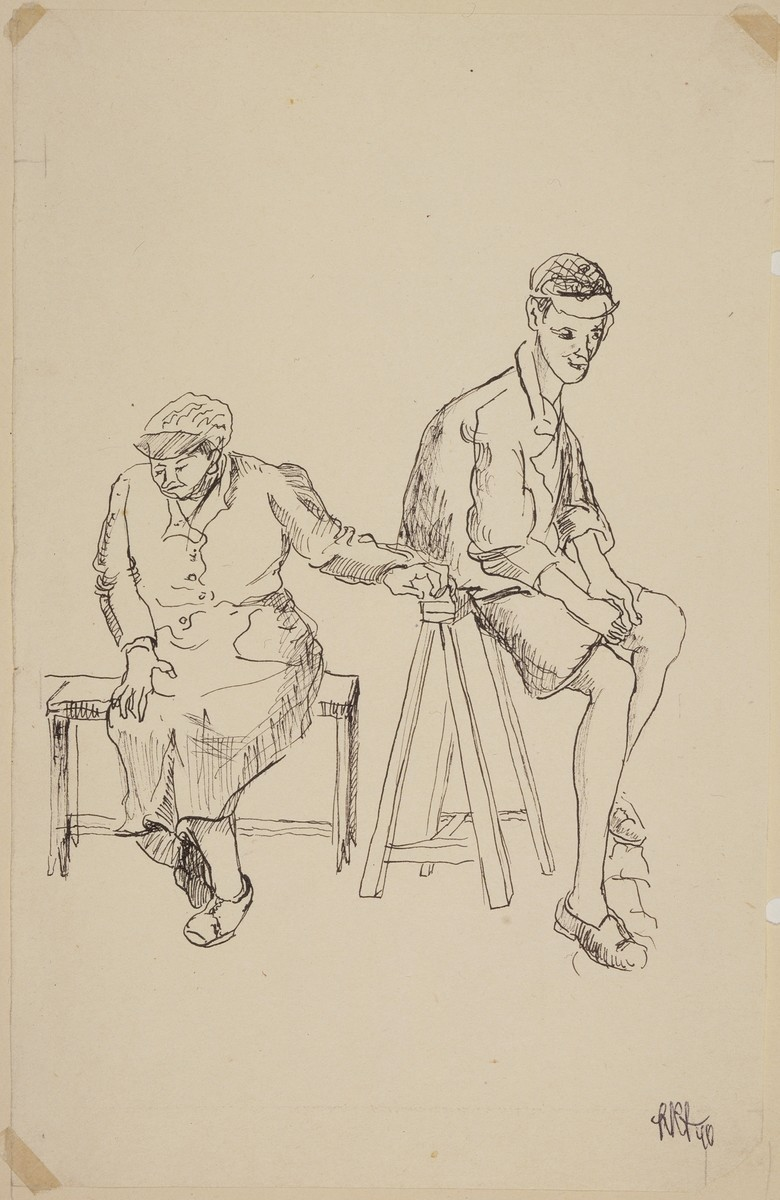 """""""L'Attente"""" [Mother and Son Waiting] by Lili Andrieux."""