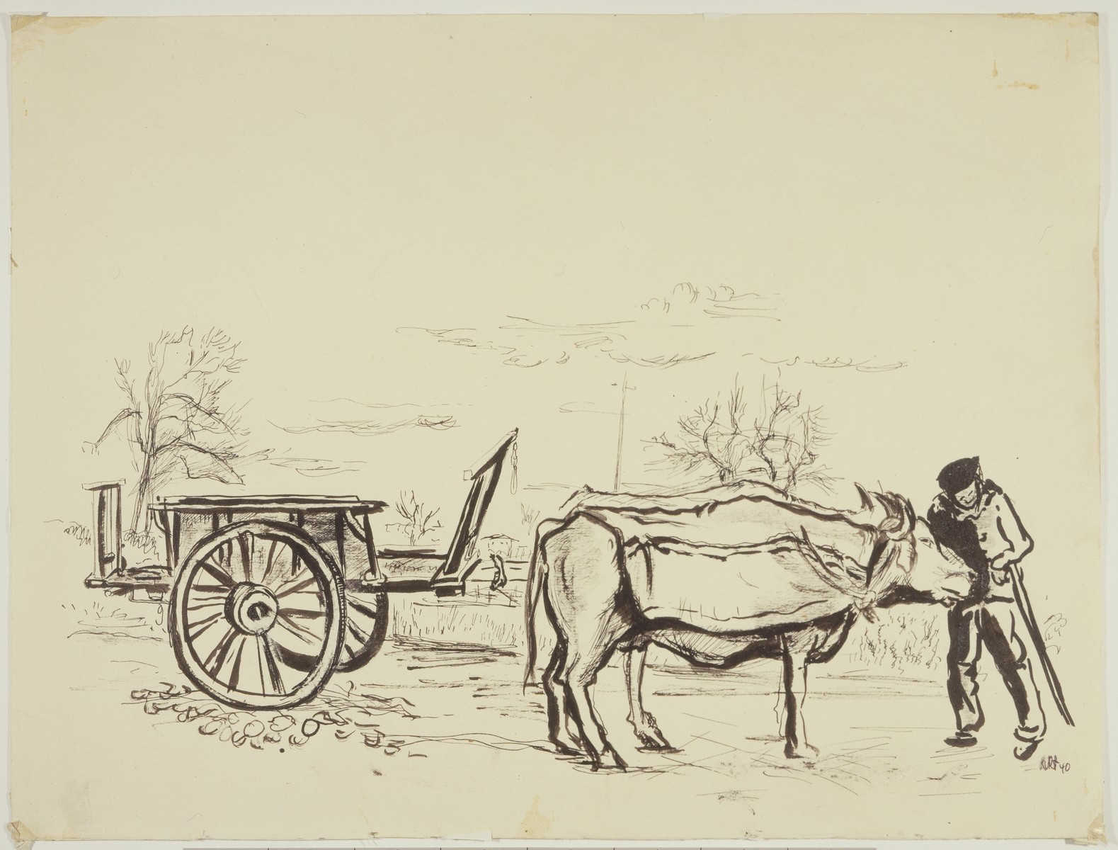 """Basque Peasant with his Oxcart outside Camp de Gurs""  by Lili Andrieux."