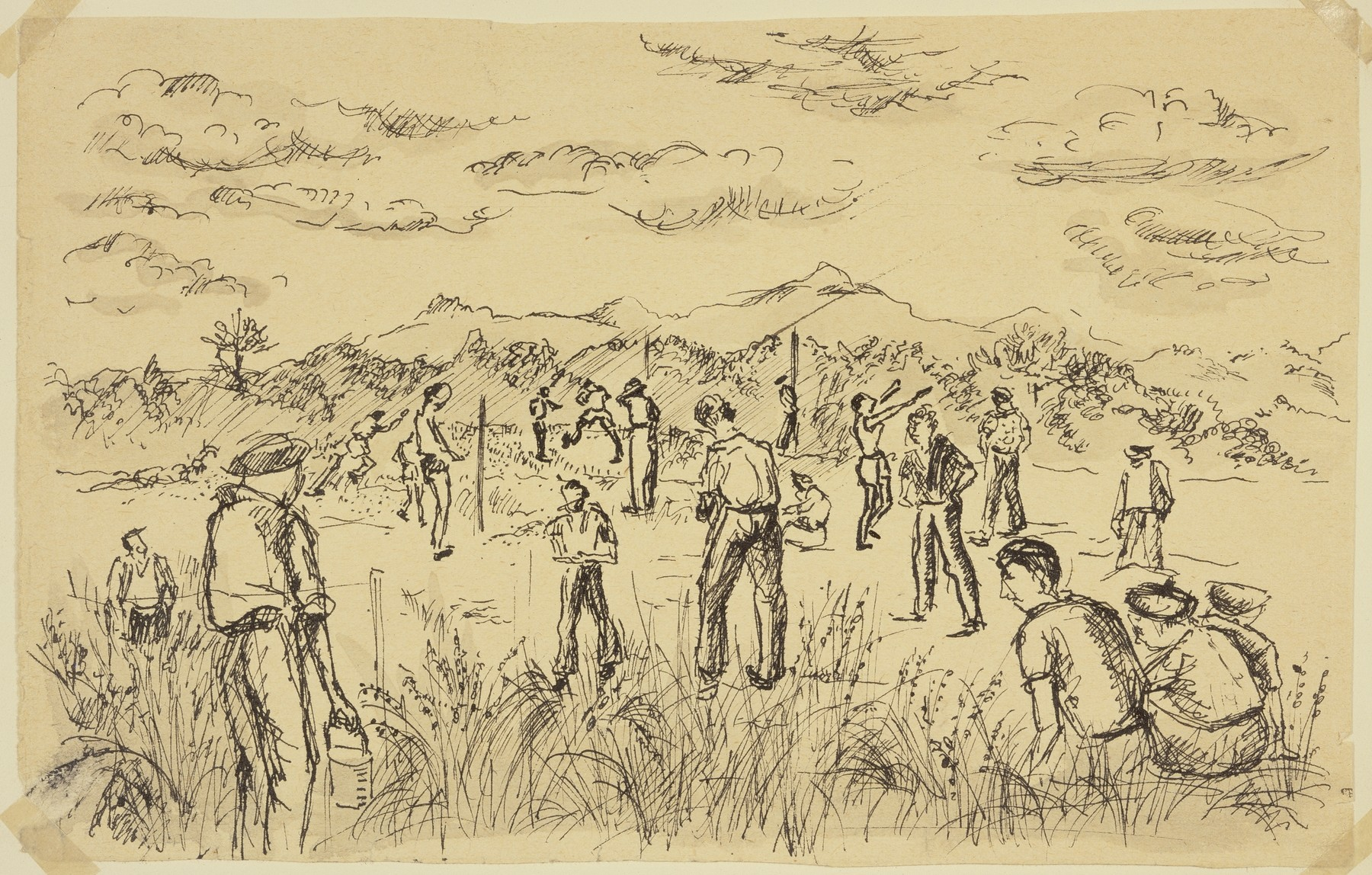 """""""Spanish Refugees Playing Ball"""" by Lili Andrieux."""