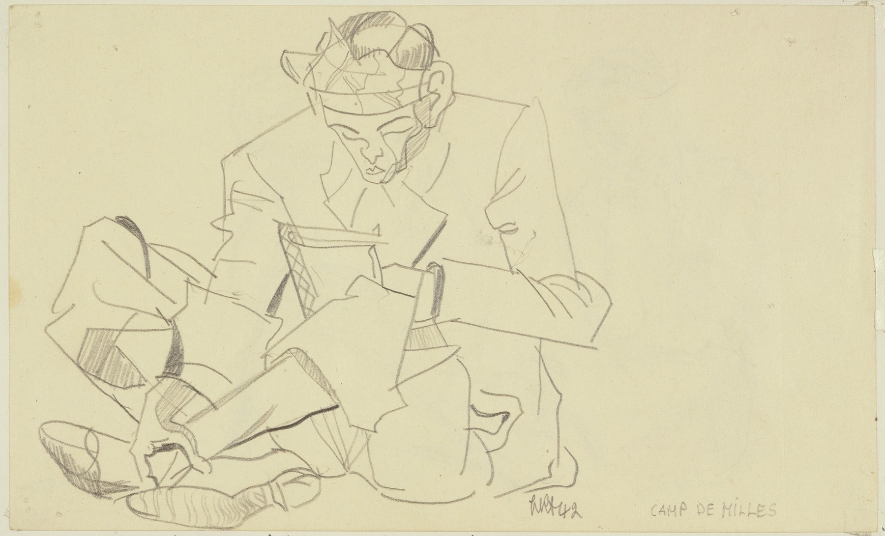 """""""Male Inmate with Kerchief round his Head, Reading"""" by Lili Andrieux."""