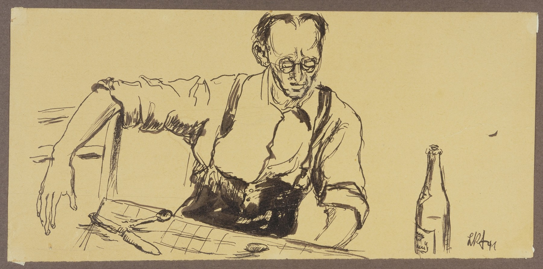 """Male Internee Seated at Table with Silverware and Bottle, Camp de Gurs""  by Lili Andrieux."