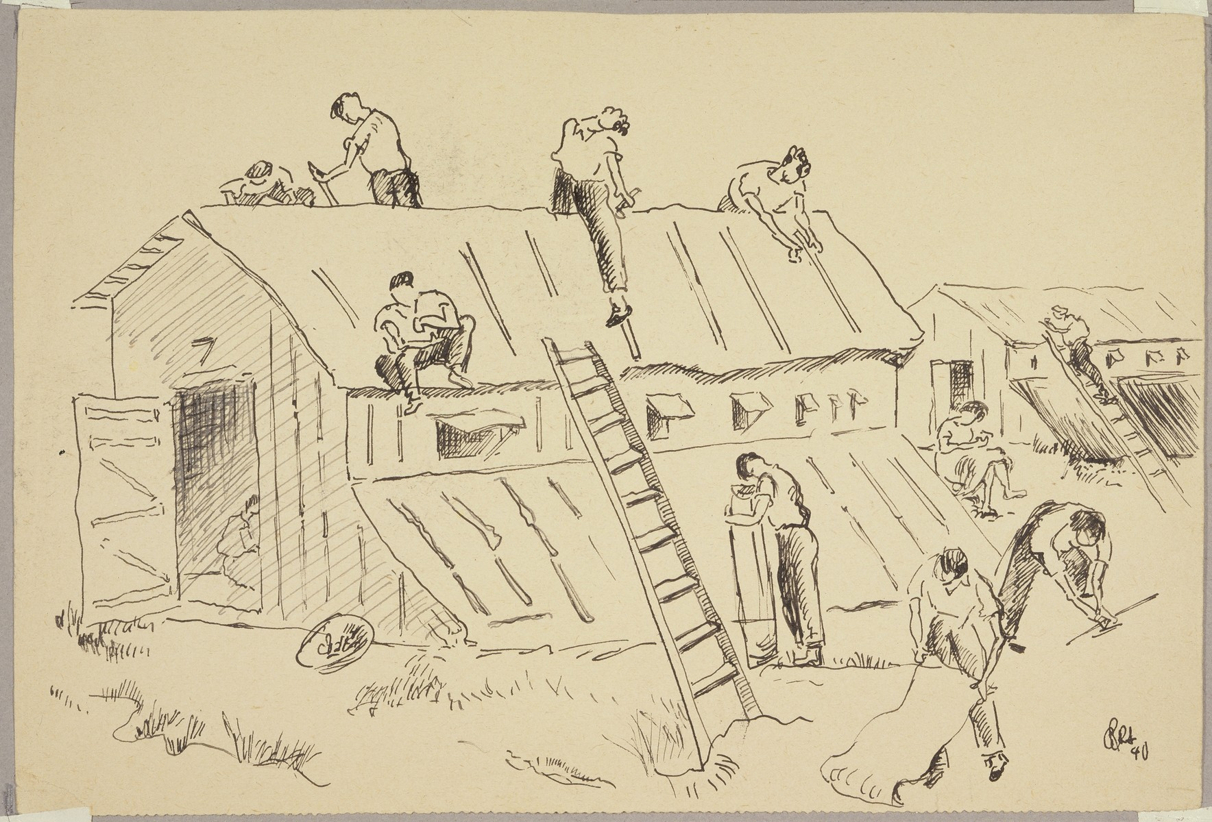 """Spanish Maintenance Workers Repairing Roof in Women's Section"" by Lili Andrieux."