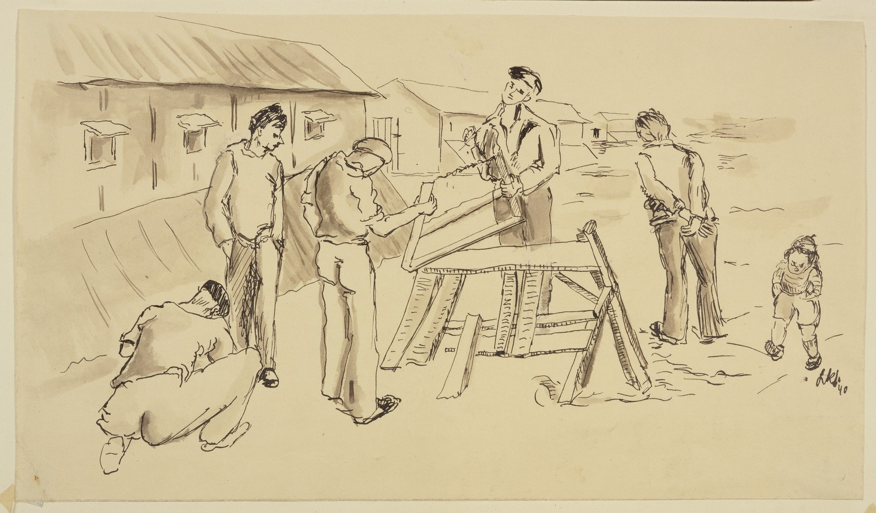 """""""Woodcutters Cutting Wood for the Camp Kitchen"""" by Lili Andrieux."""