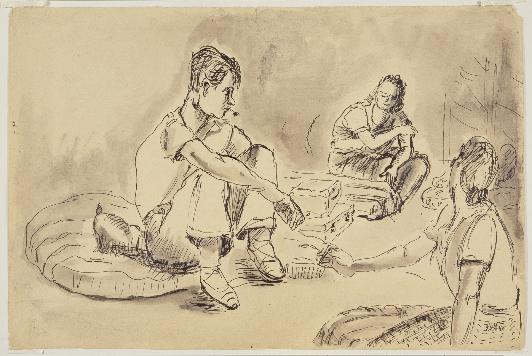 """""""Spaniard Visiting in Women's Barracks"""" by Lili Andrieux."""