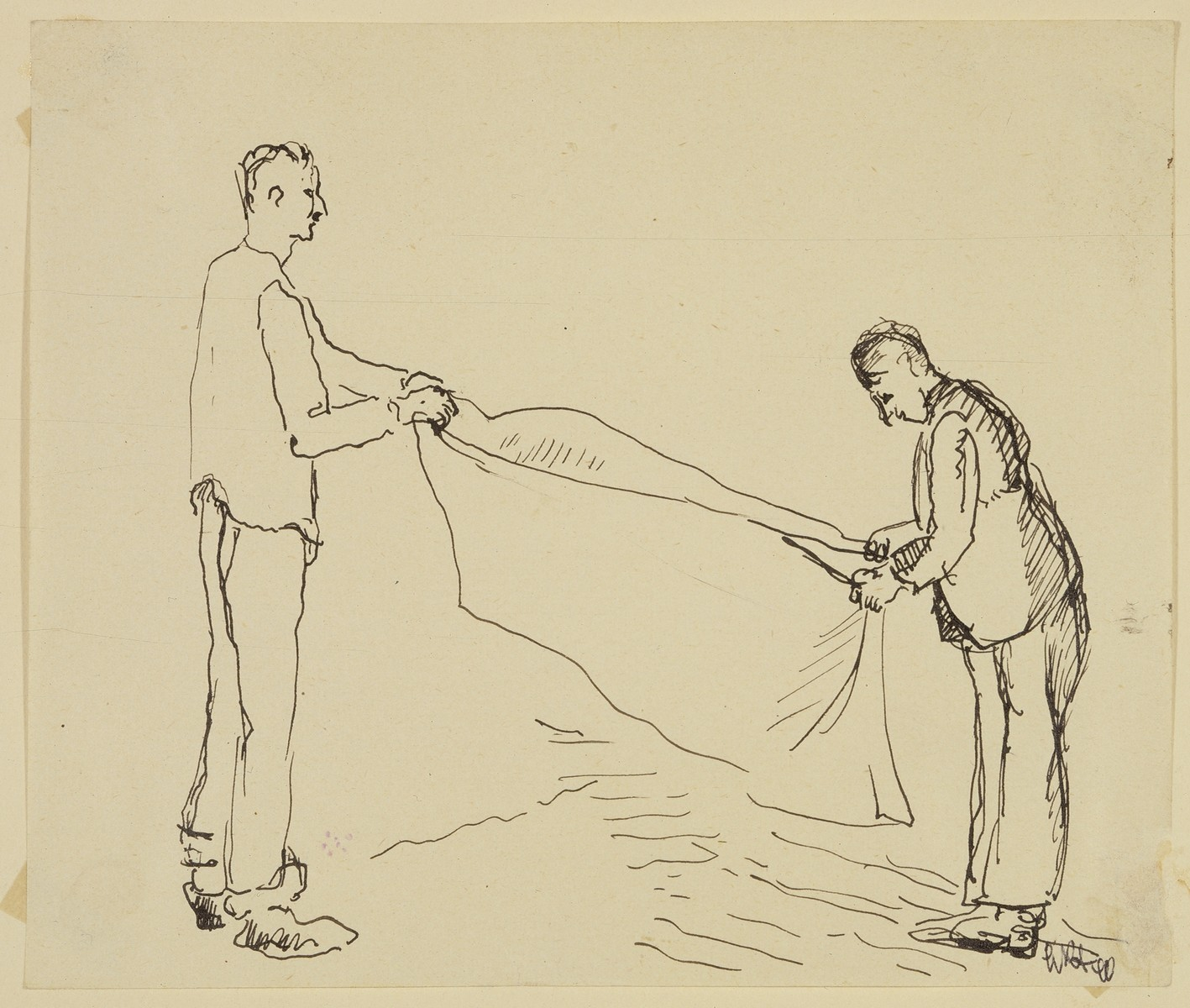 """Male Internees Folding Their Blanket"" by Lili Andrieux."