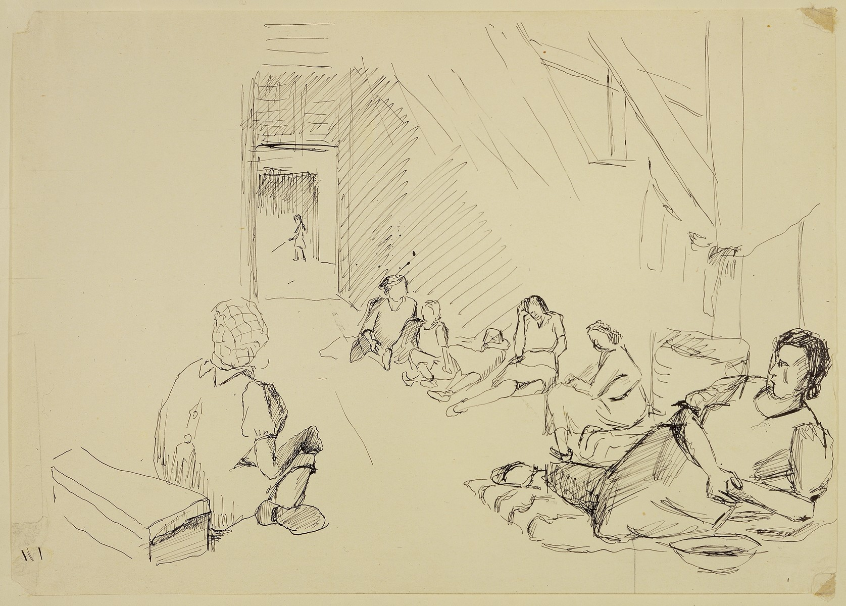 """Interior of Women's Barracks"" by Lili Andrieux."