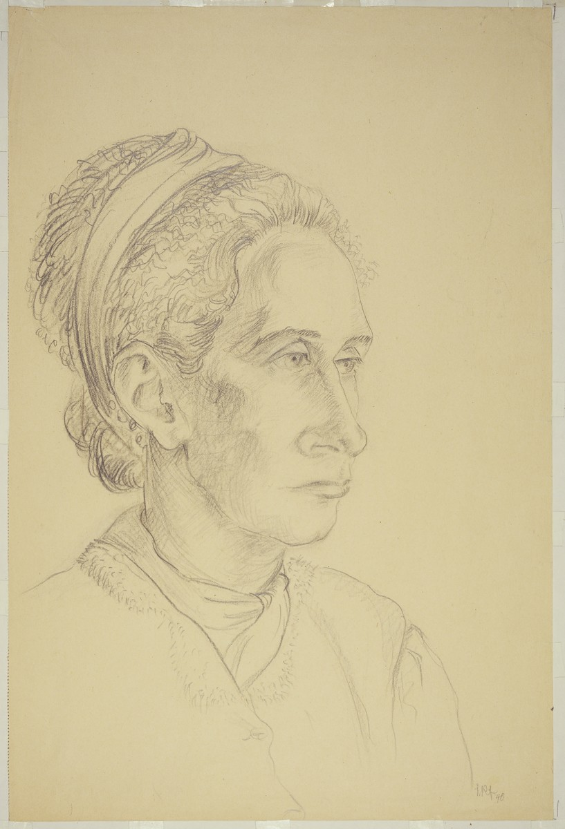 """""""Woman with Ribbon in her Hair, 3/4 Profile"""" by Lili Andrieux."""