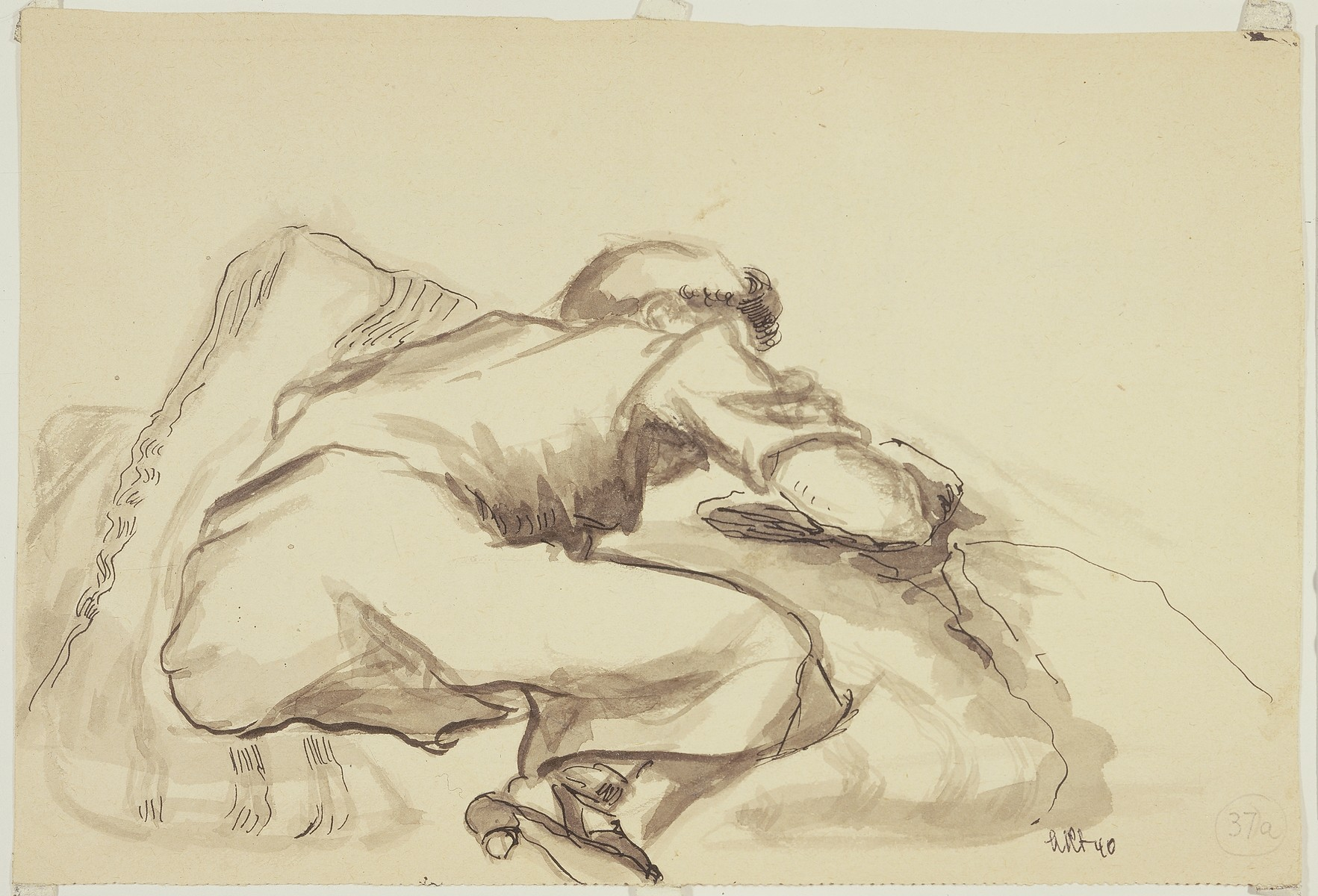 """""""Women Doubled Up on Straw Sack"""" by Lili Andrieux."""