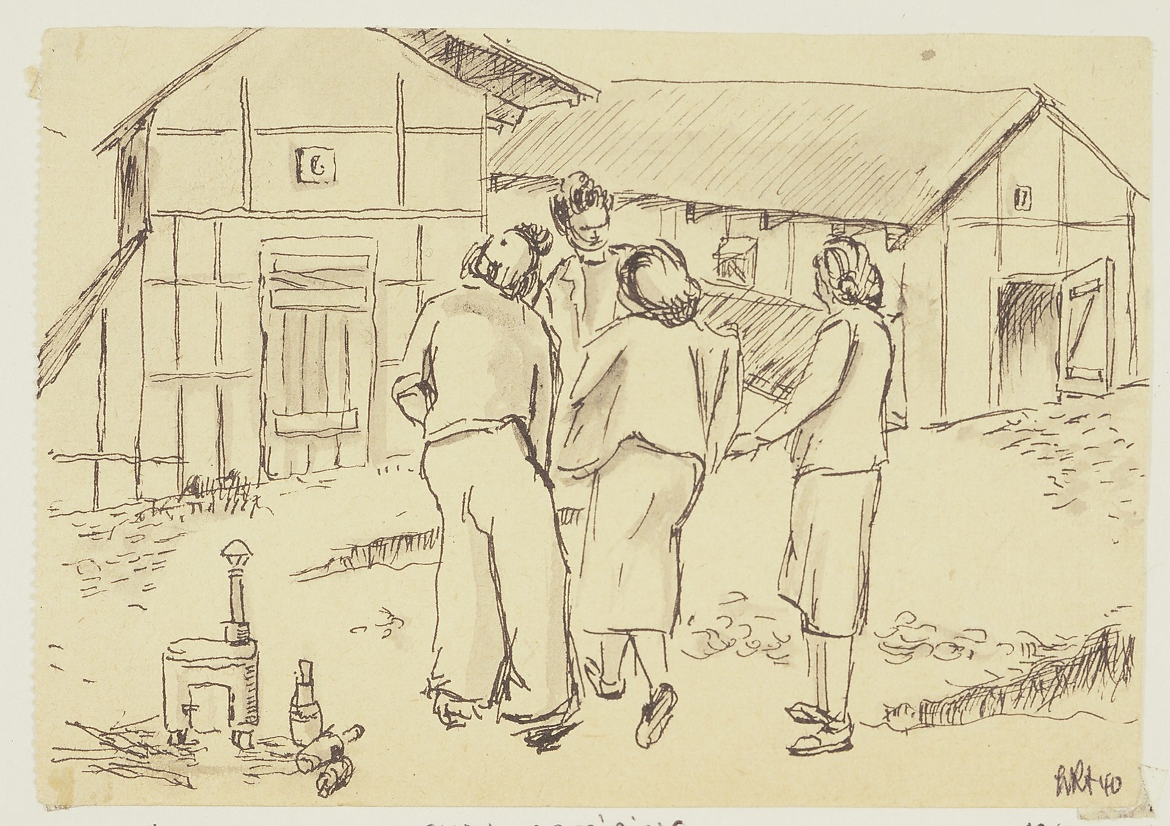 """Camp de Gurs--Women Gossiping"" by Lili Andrieux."