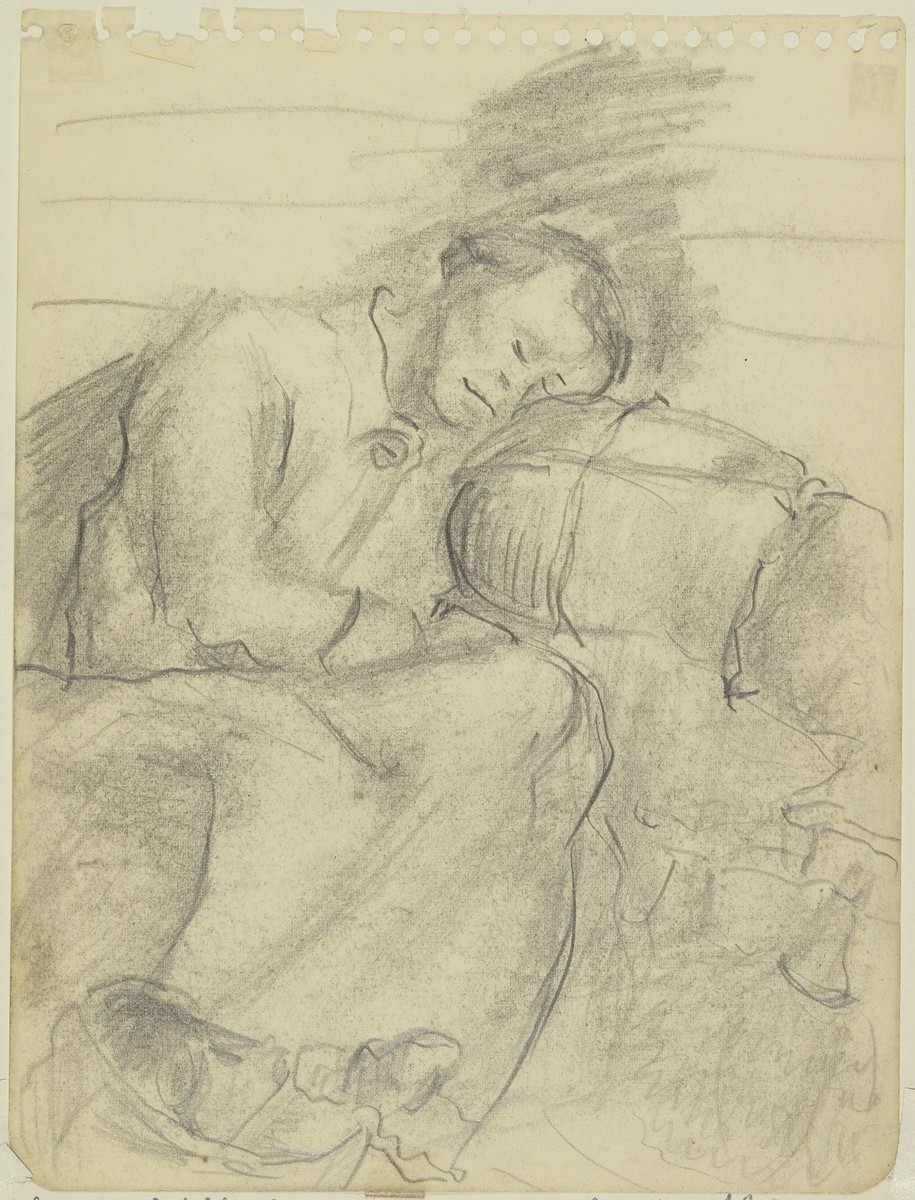 """Women with her Bundles, in the cattle car transport to Amp de Gurs June 2, 1940,"" by Lili Andrieux.  From a sketchbook."