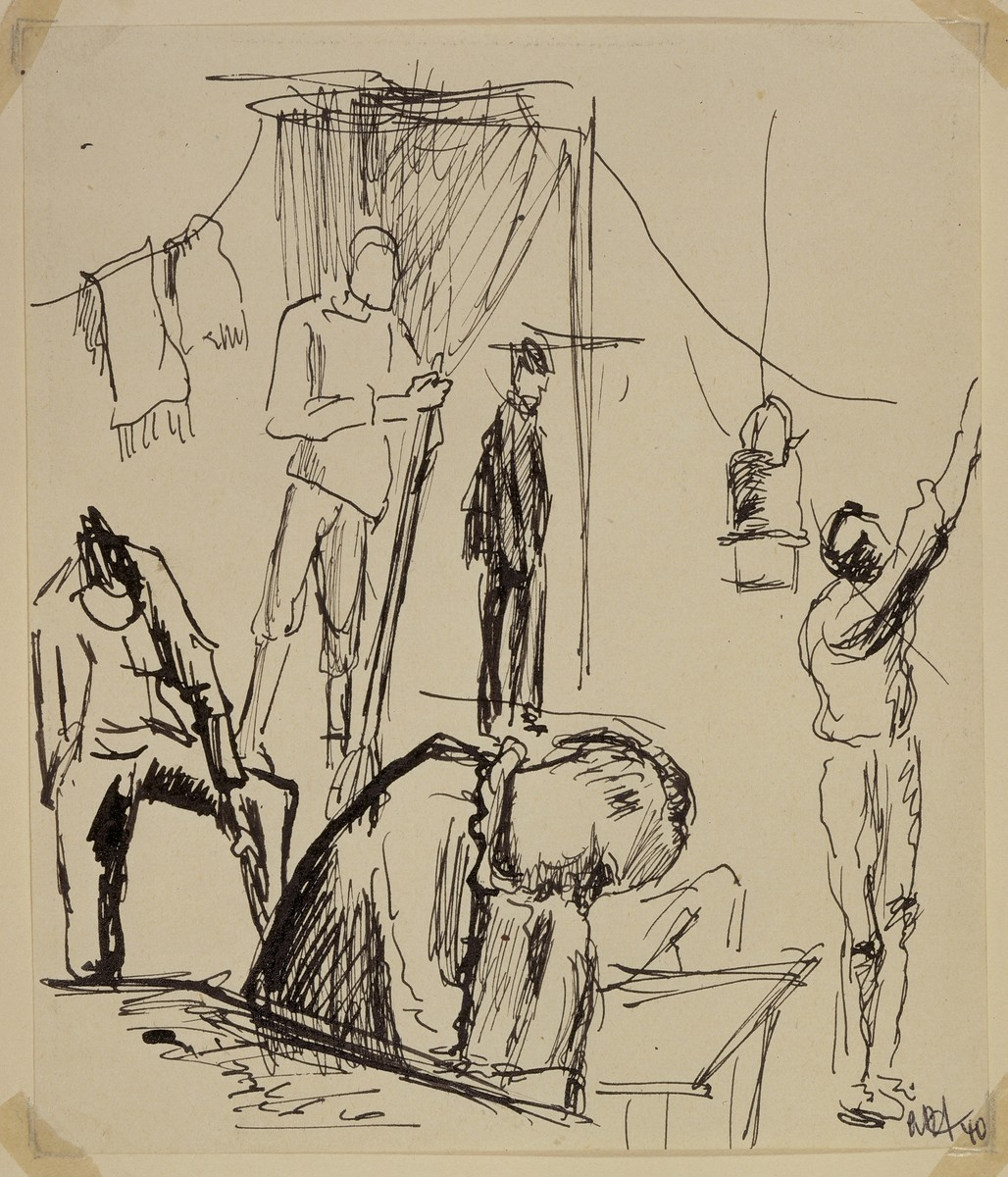 """Dreary Inside of Men's Barracks"" by Lili Andrieux."