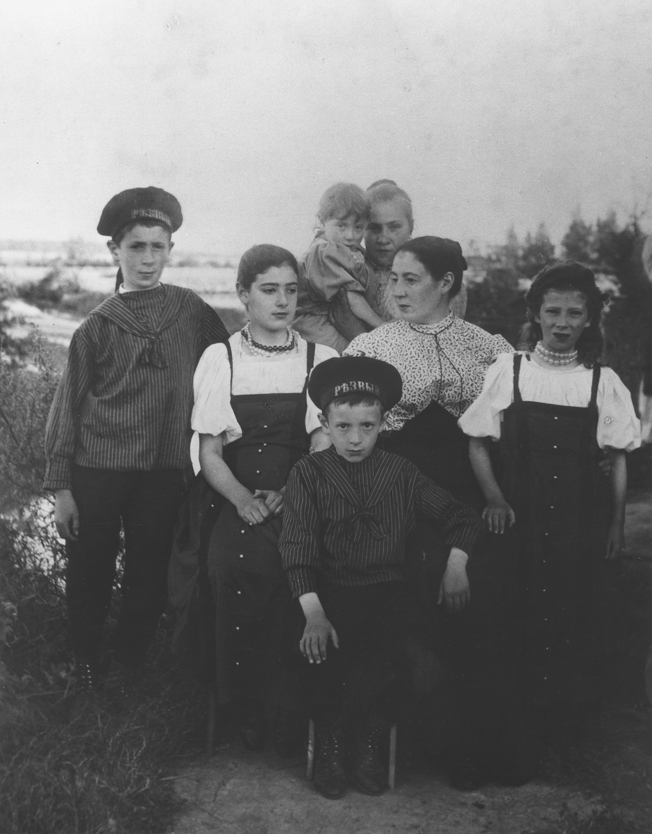 Fanya Mikolaevsky and the children at their dacha in the village of Strelna, a suburb of St. Petersburg.