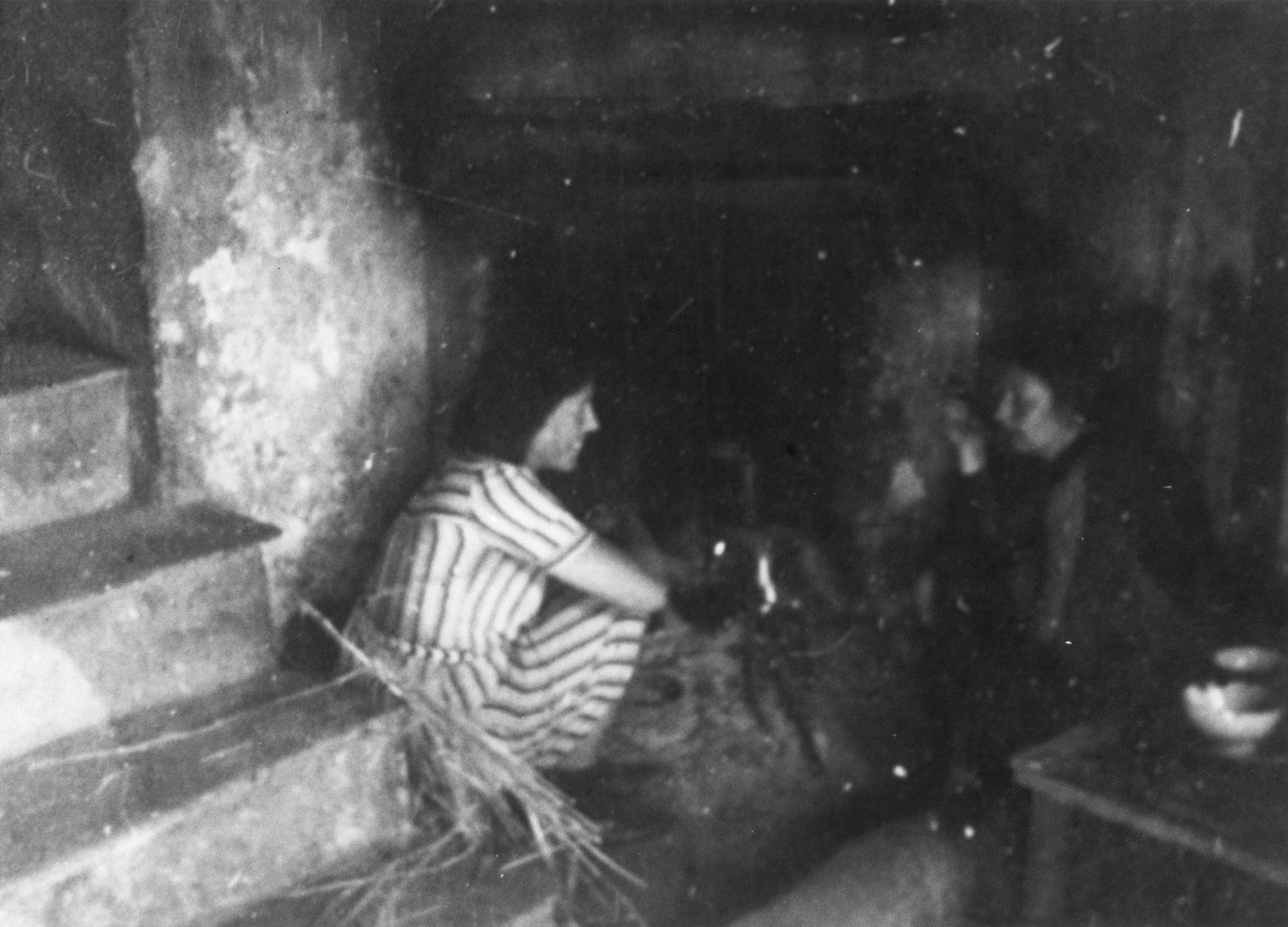 Jewish refugees hide in a farm Valle Stura, Italy after crossing over the border from France.