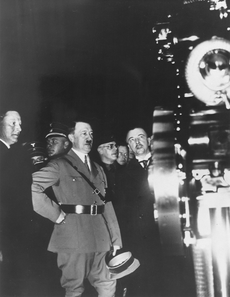 Reich Chancellor Adolf Hitler attends the opening of an automobile exhibition in Berlin.