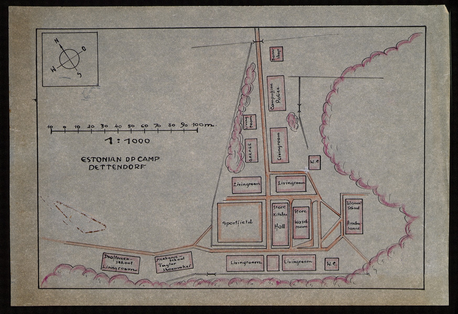 Hand-drawn color map of the DP camp for Estonians in Dettendorf, Germany.